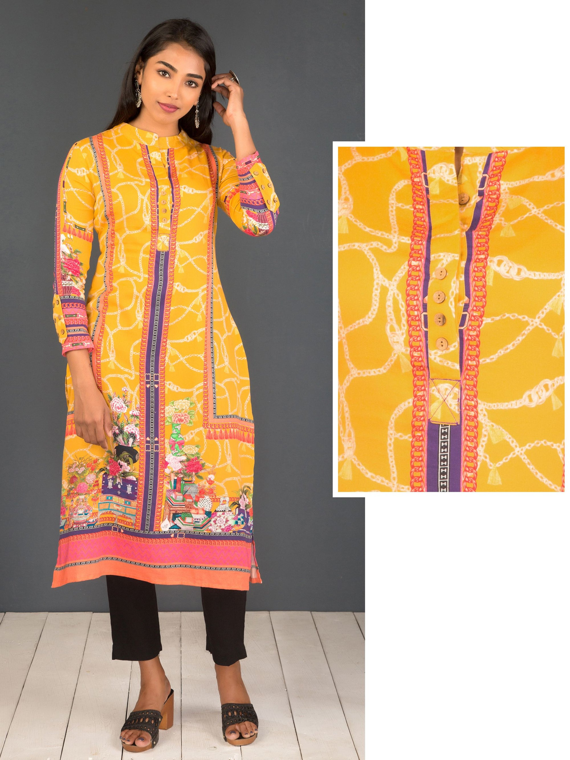 Quirky Belt & Chain Printed Viscose Kurti