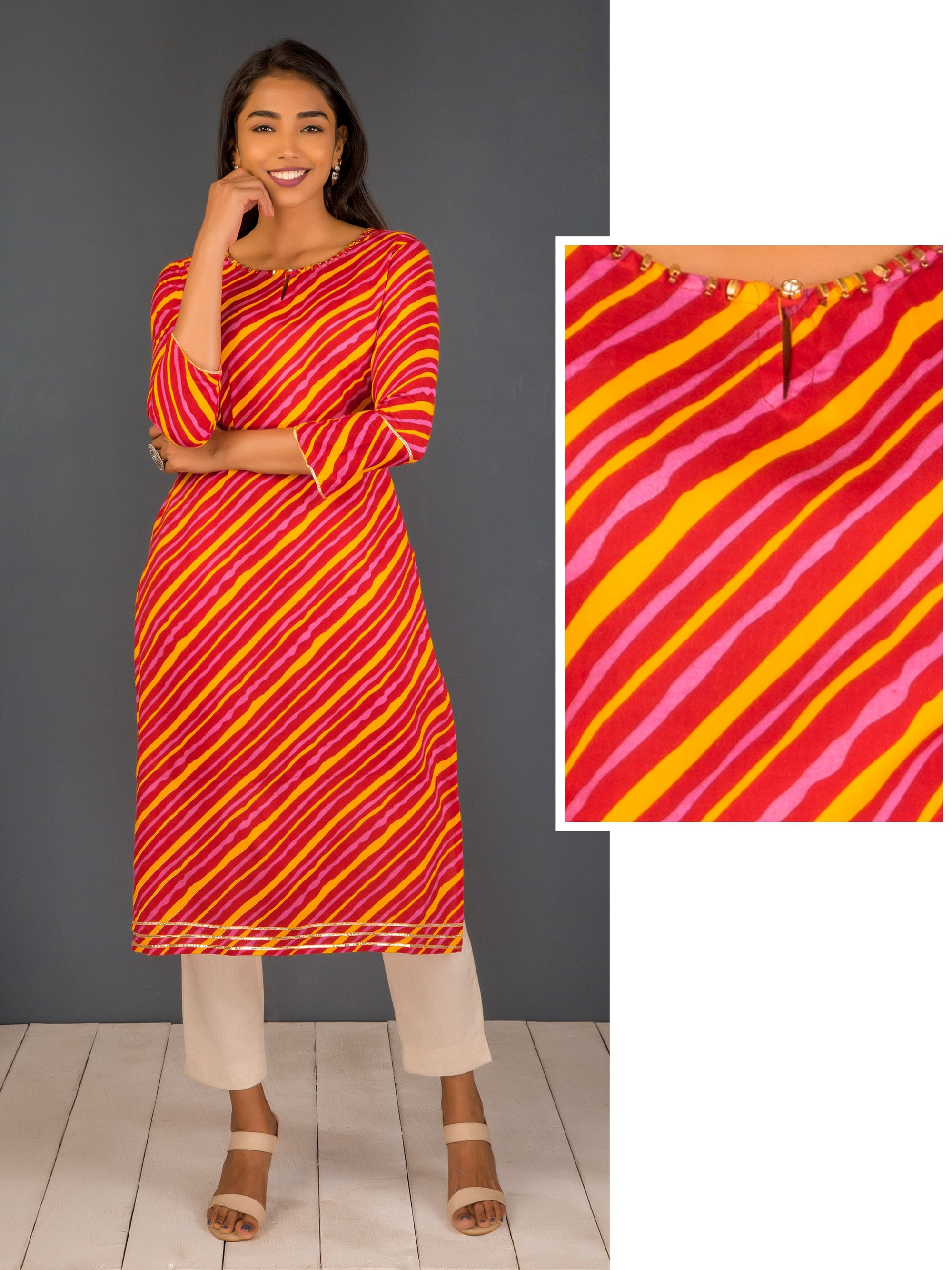 Regimental Stripes With Gota Lace Kurti - Red