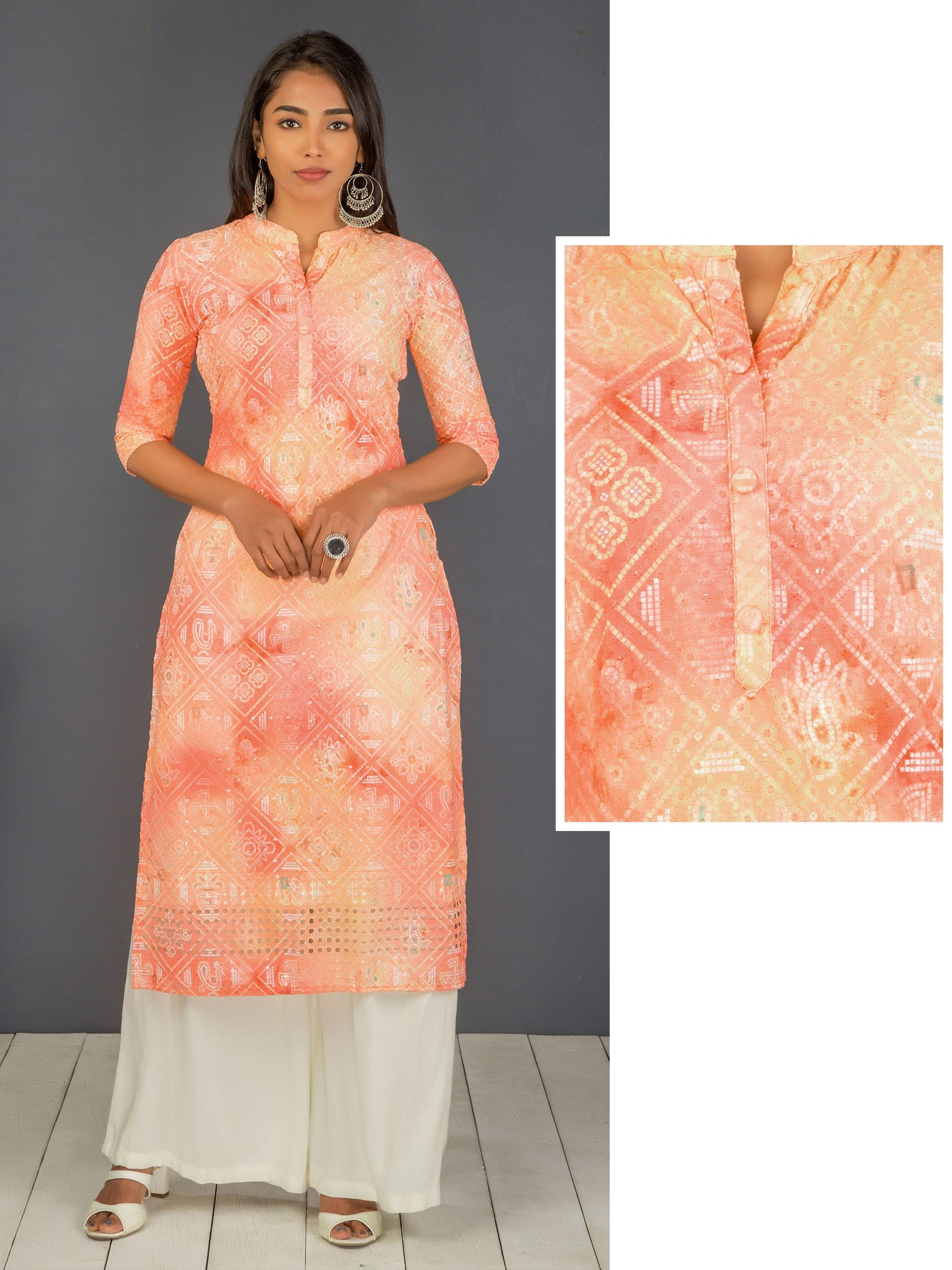 Hakoba Embroidered Kurti with Transparent Sequins