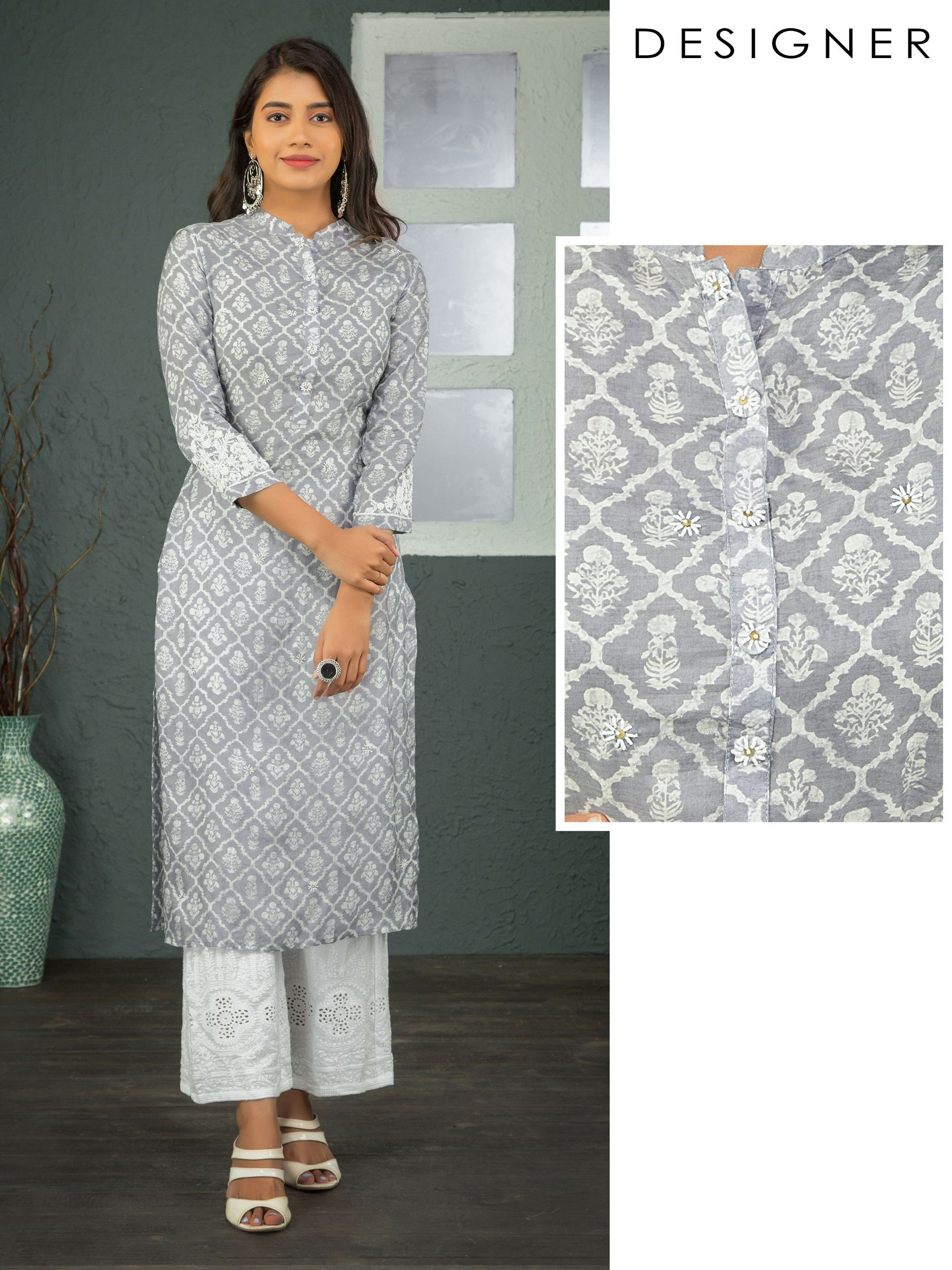 Floral Printed Kurta With Cutdana And French Knot Embroidery - Pigeon Grey