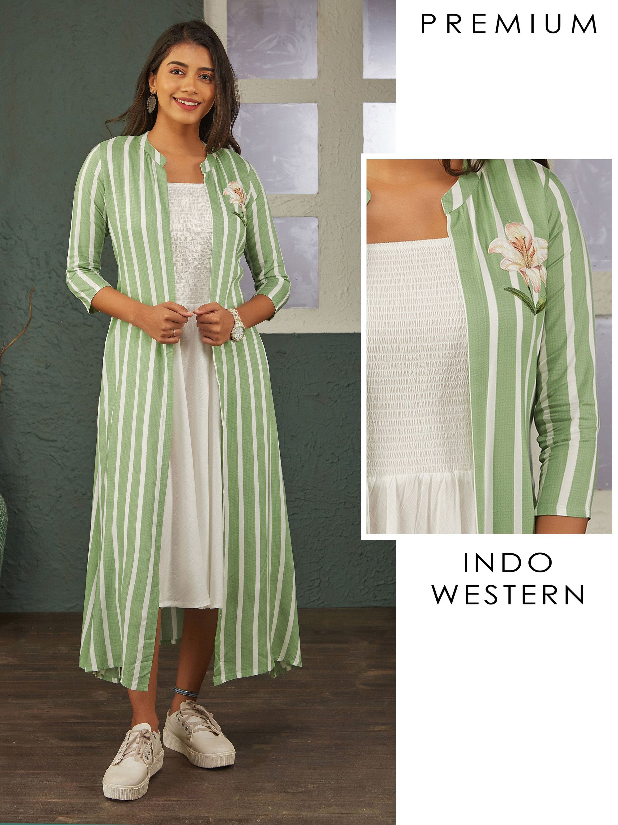 Smocking Bias Cut Maxi with Cabana Striped Jacket