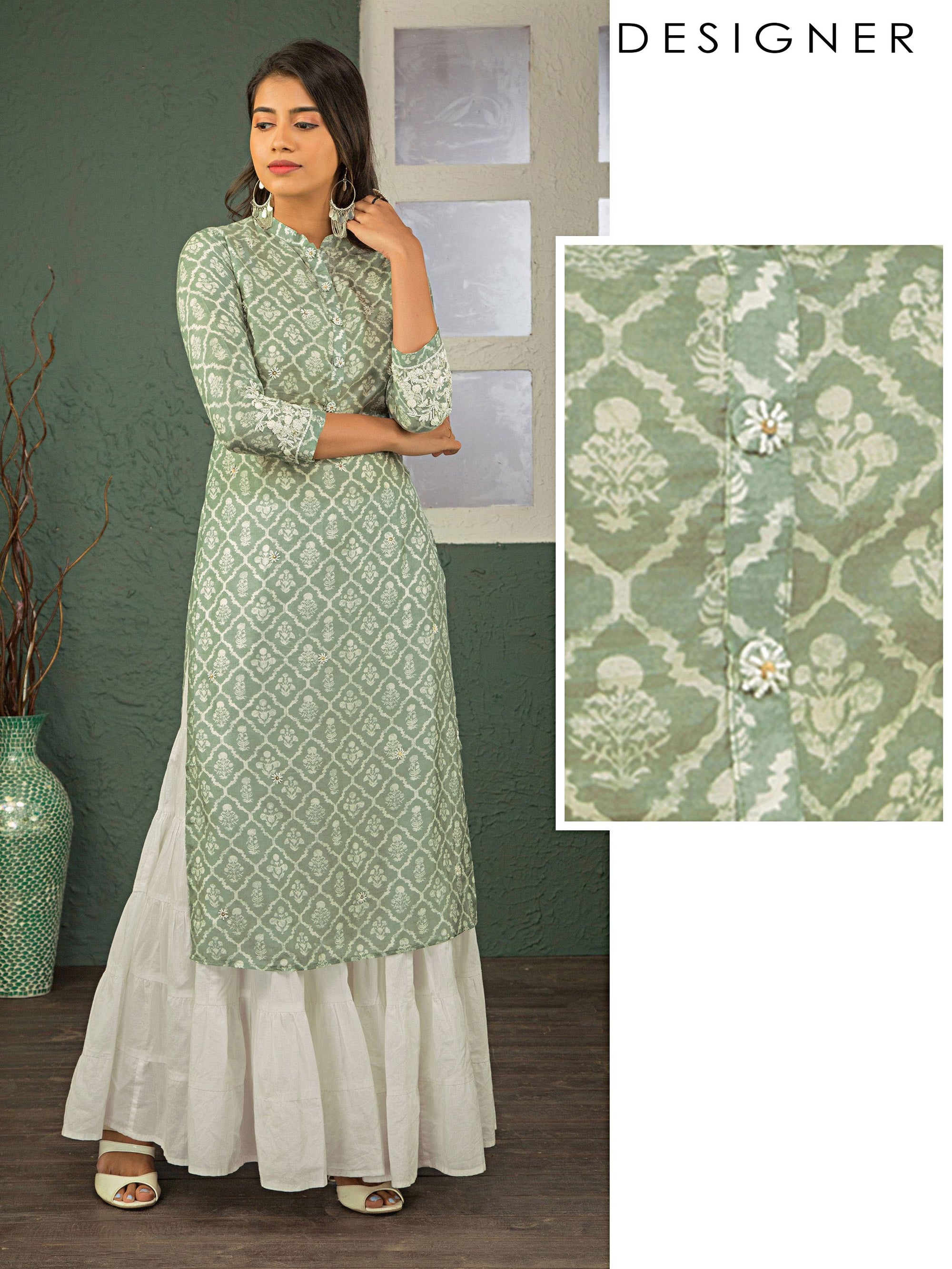 Floral Printed Kurta With Cutdana And French Knot Embroidery - Pastel Green