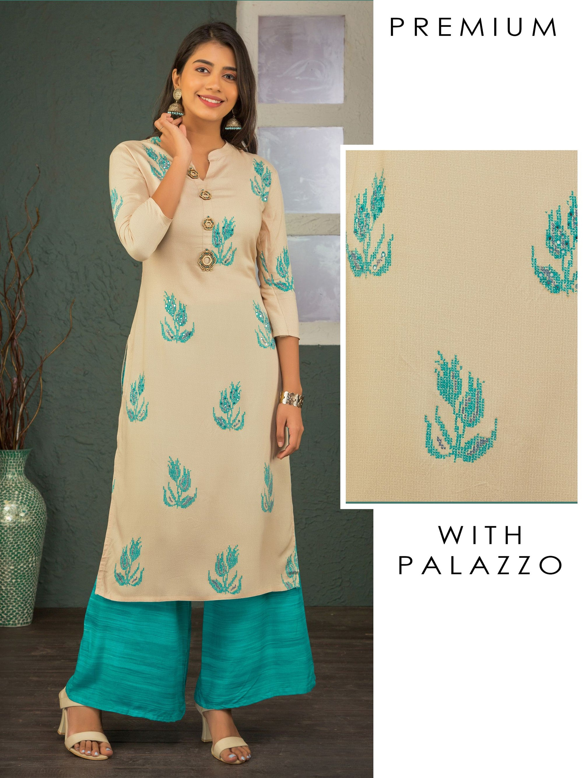 Cross Stitch Printed Kurti & Palazzo Set