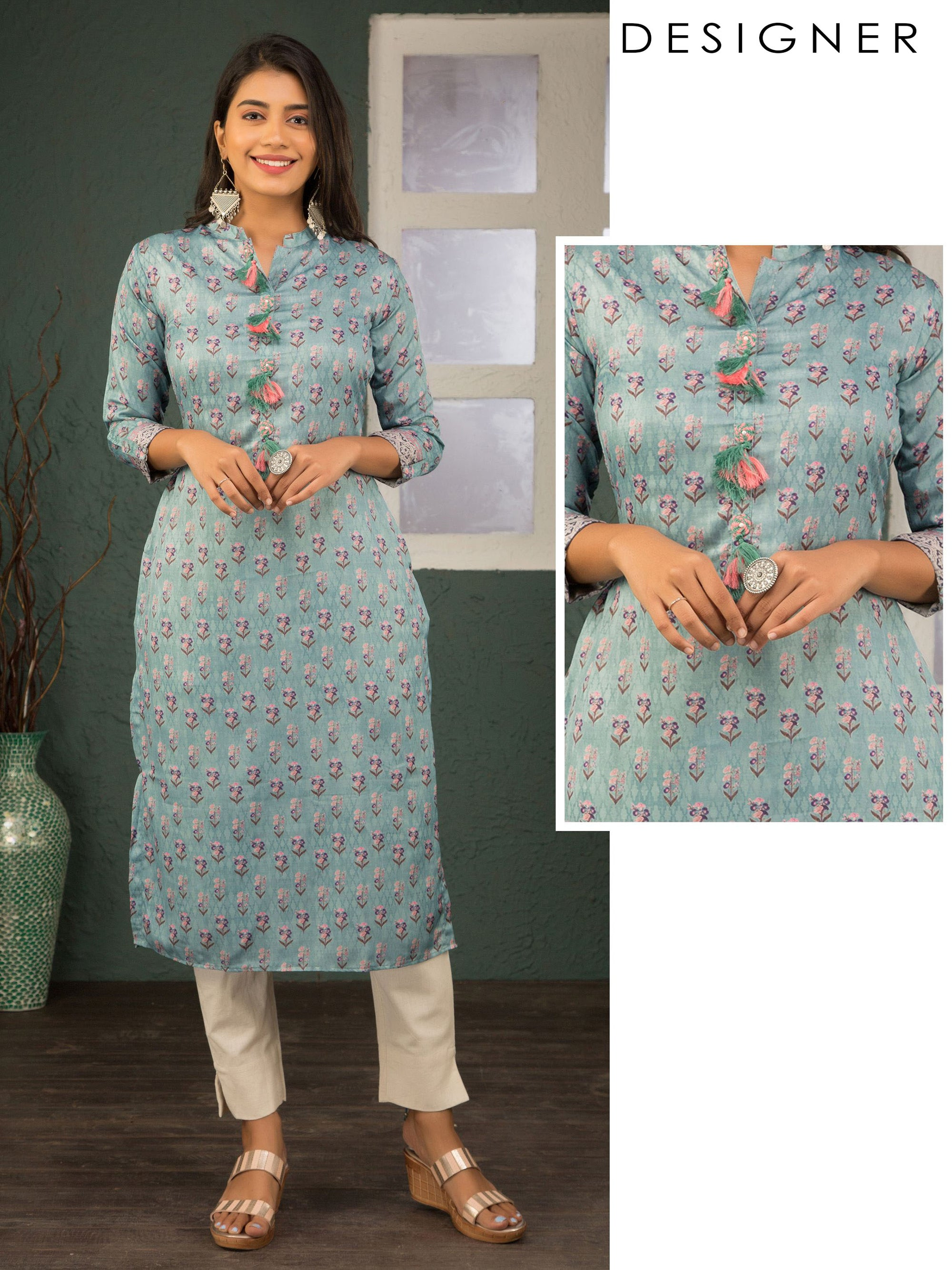 Floral Printed & Tassel Enhanced Kurti – Powder Blue