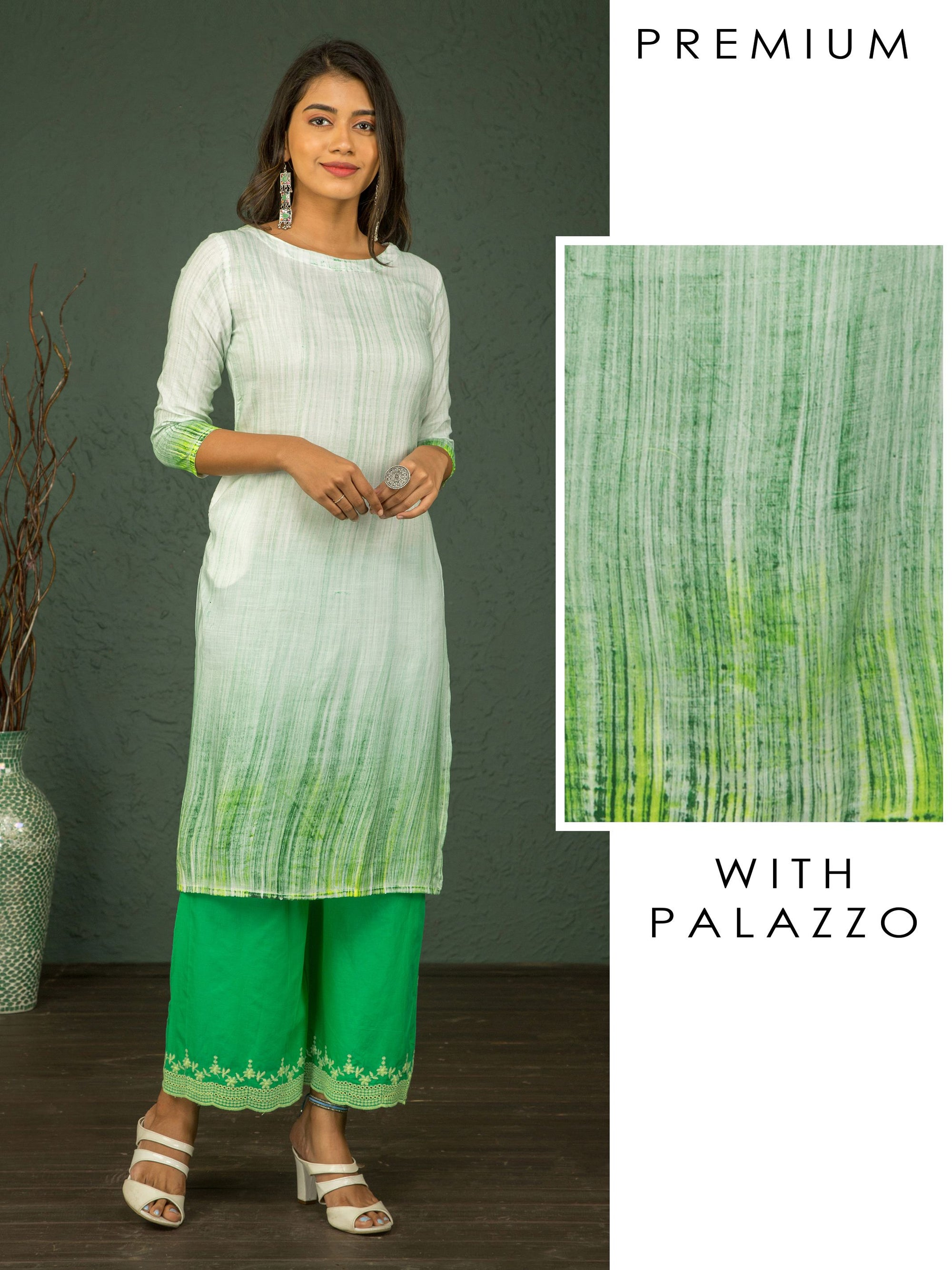 Vertical Striped & Ombre Styled Kurti with Hakoba Embroidered Palazzo