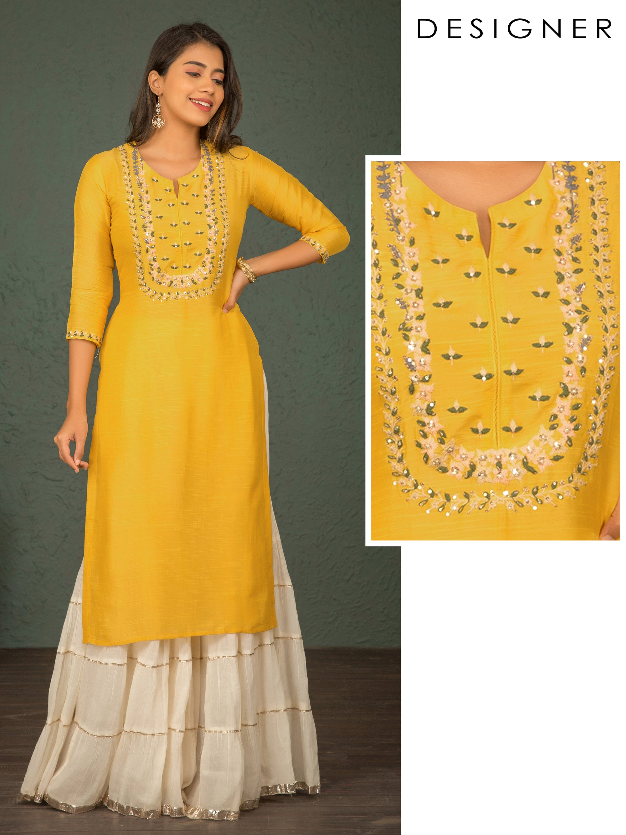 Cord Floral Embroidered Silk Kurti – Yellow