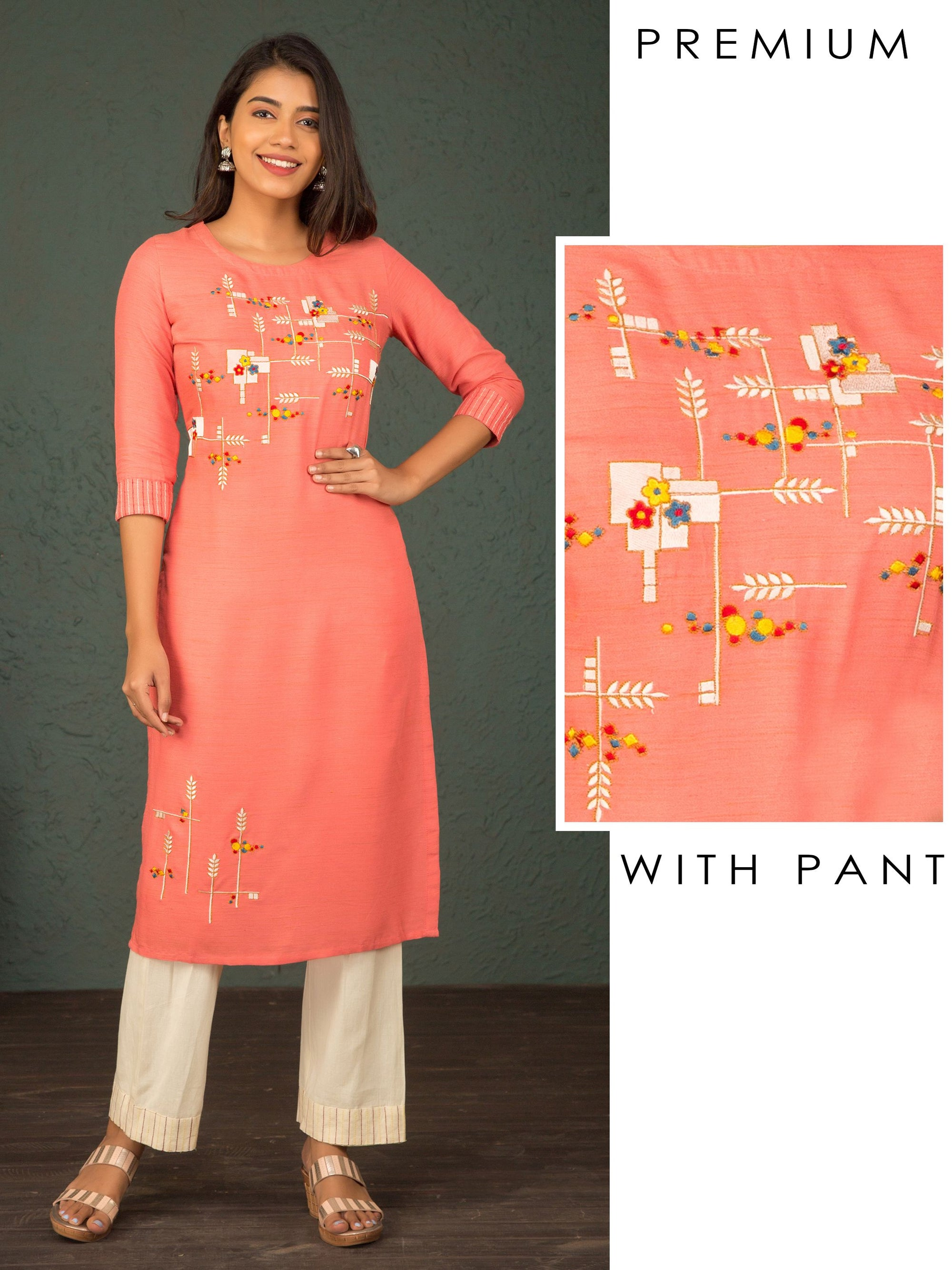 Floral & Geometric Embroidered Kurti & Pant Set