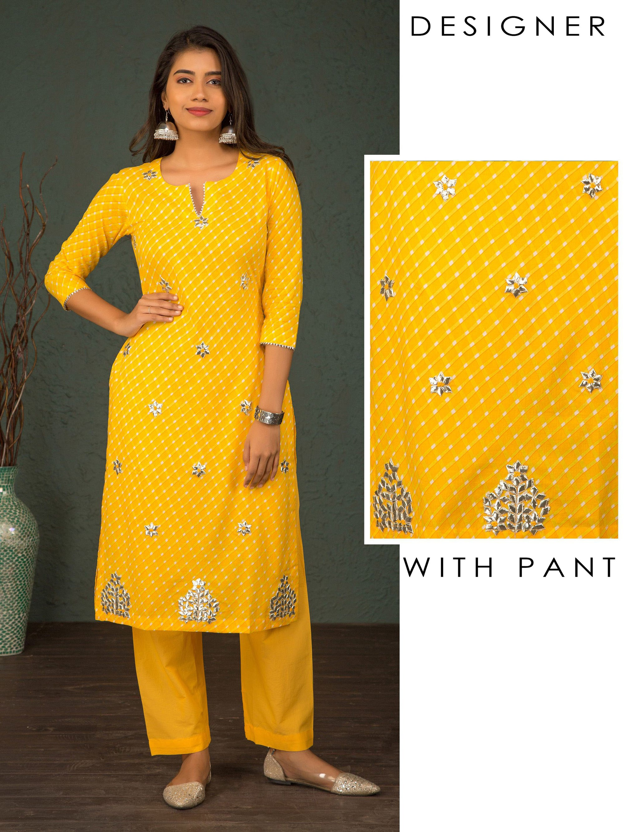 Diamond Checkered Gota Kurti & Solid Pant Set - Yellow