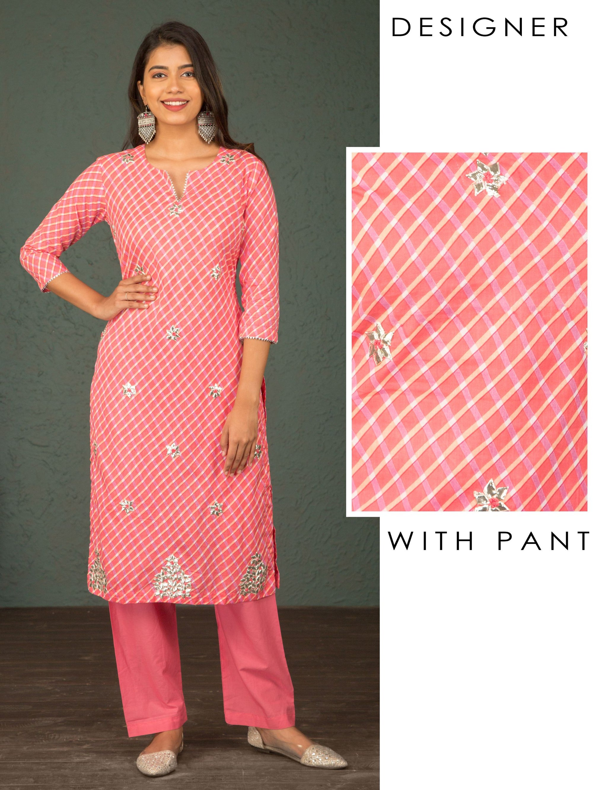 Diamond Checkered Gota Kurti & Solid Pant Set