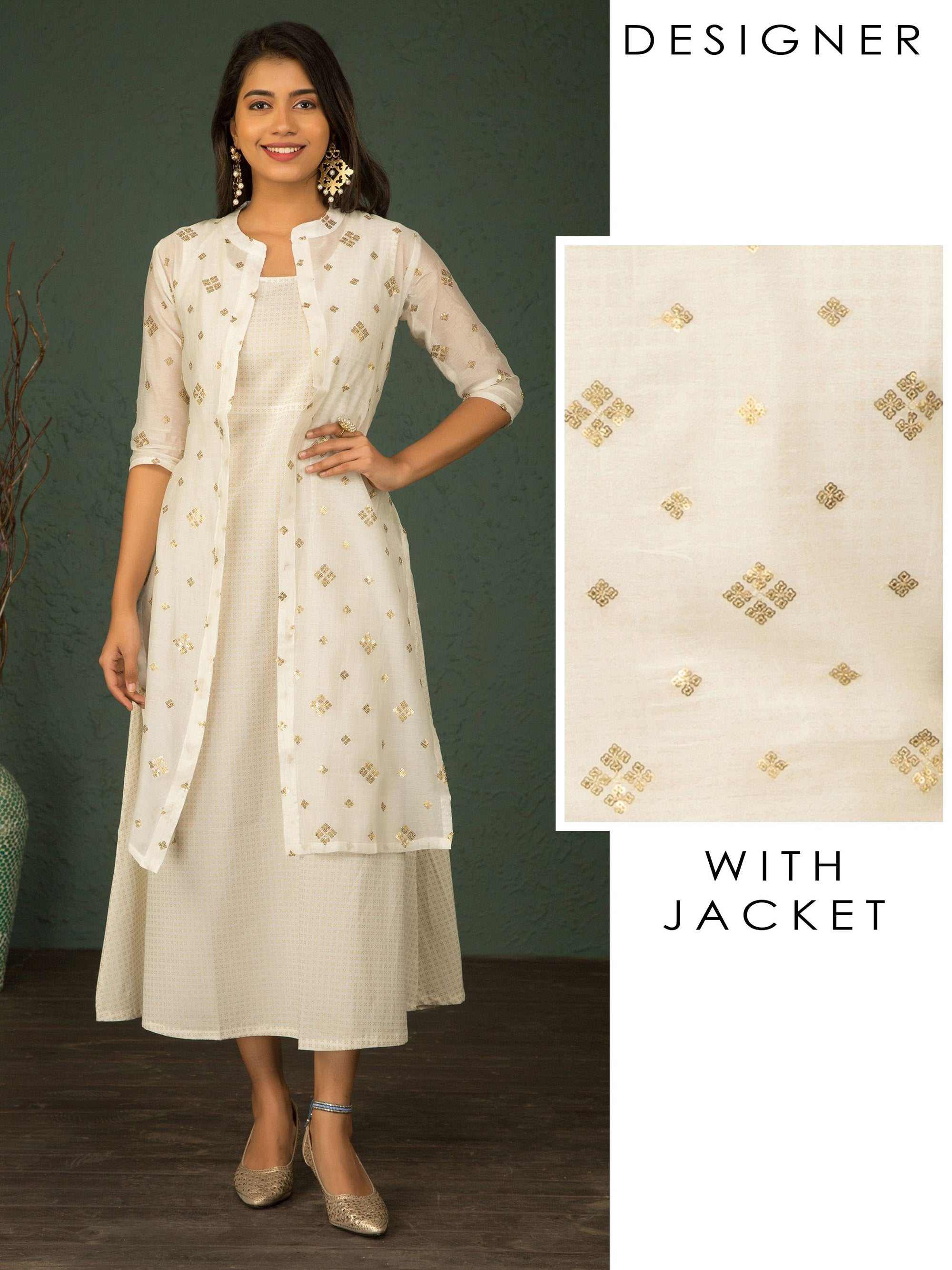 Gold Khari Printed Kurta With Sequin Embroidered Jacket