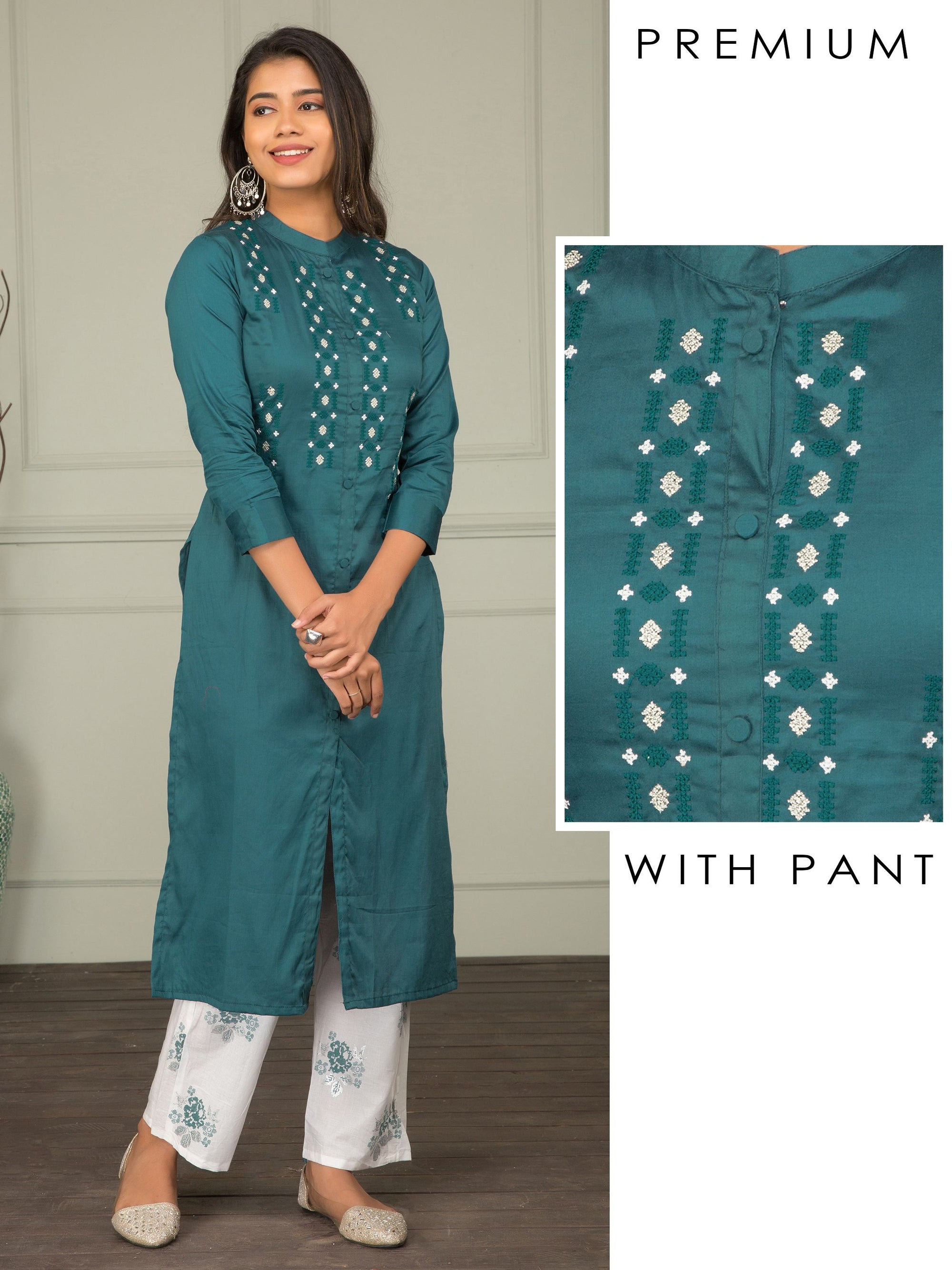 Cross Stitch Embroidery Kurta With Printed Pant