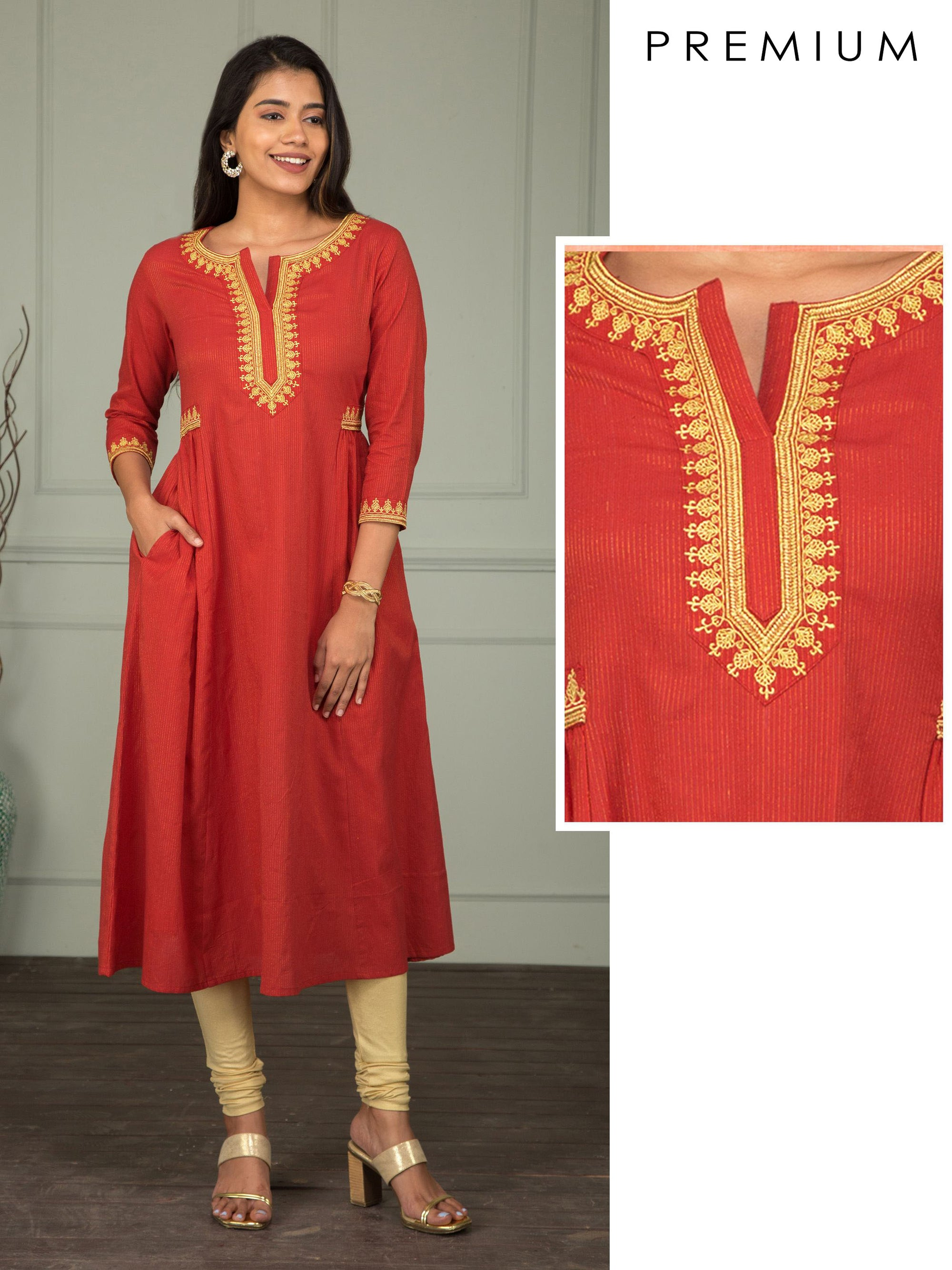 Minimal Buta Zari Work Embroidered Maxi - Maroon Art Silk Kurti