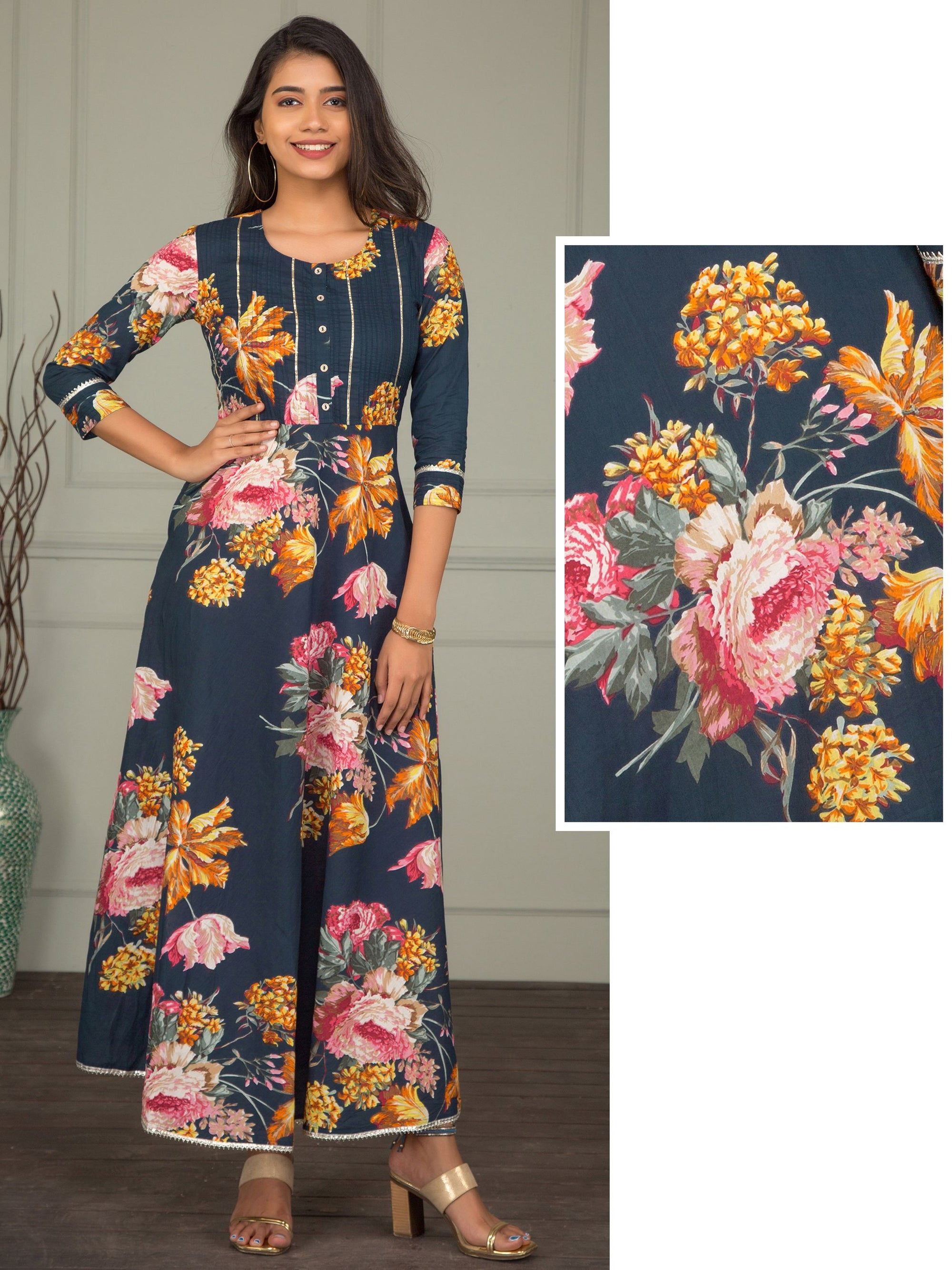 Floral Printed Maxi With Pintucks Yoke