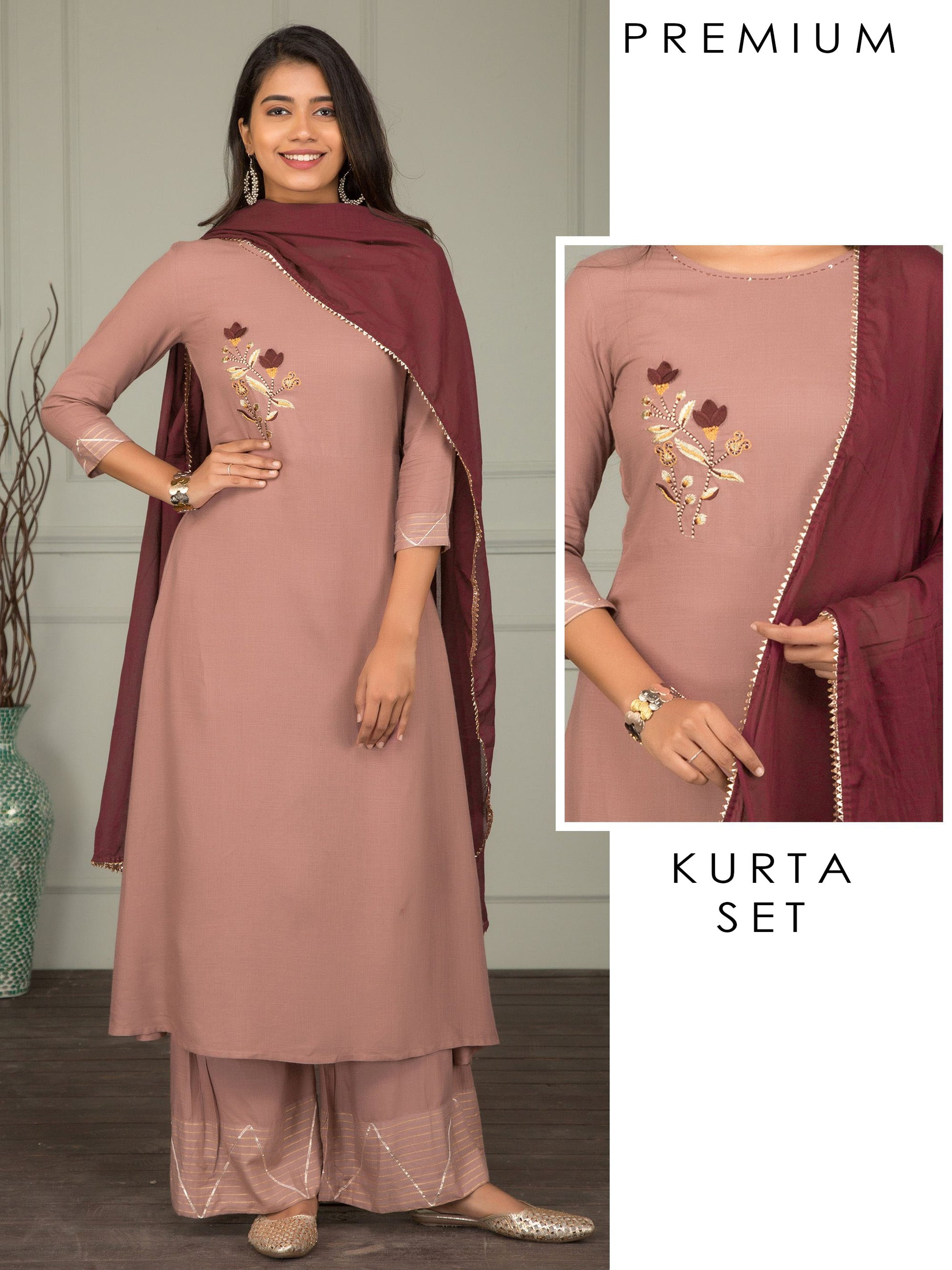 Tulip Embroidered Kurti, Gota Detailed Palazzo & Dupatta Set