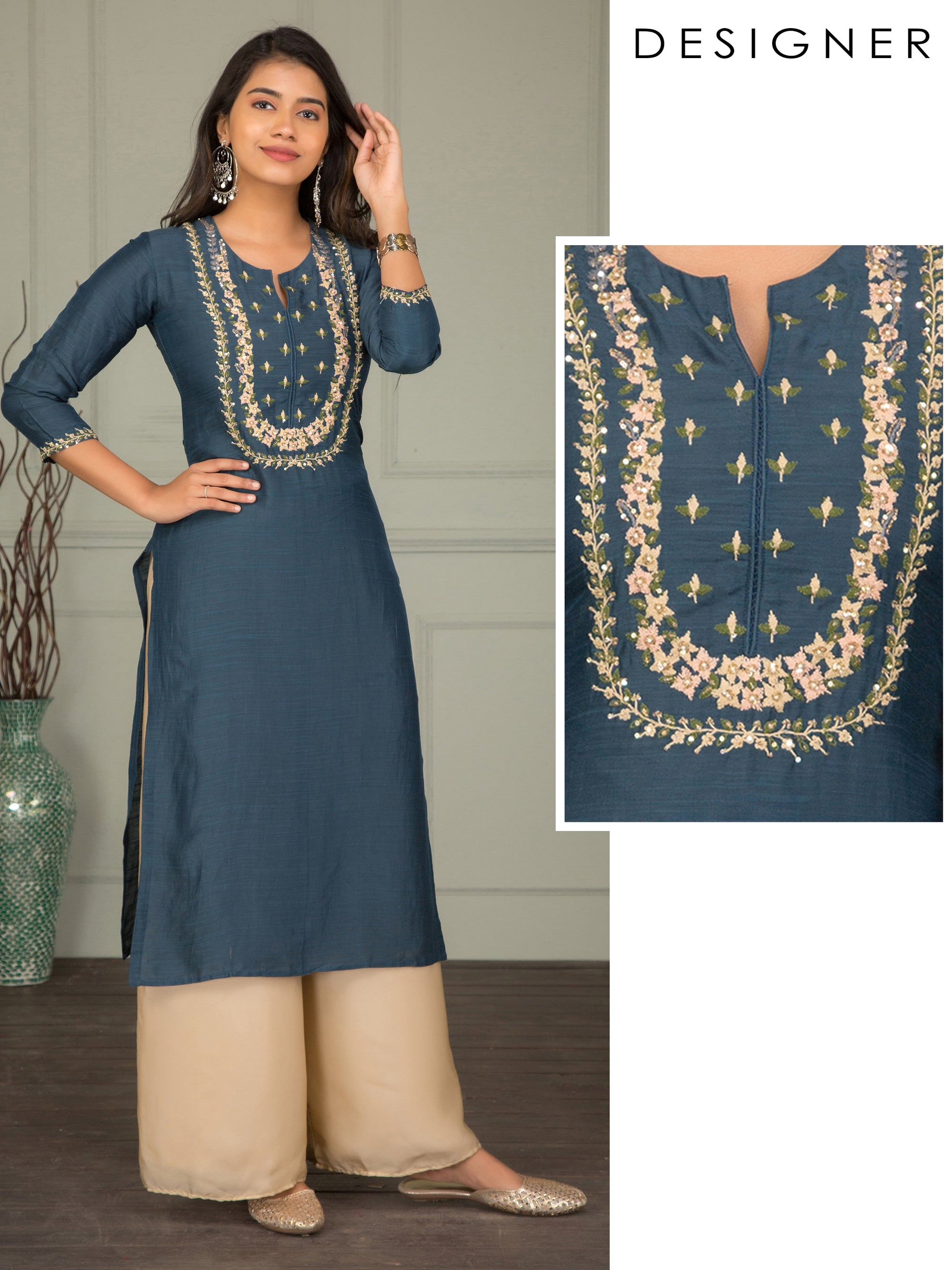 Cord Floral Embroidered Silk Kurti – Blue