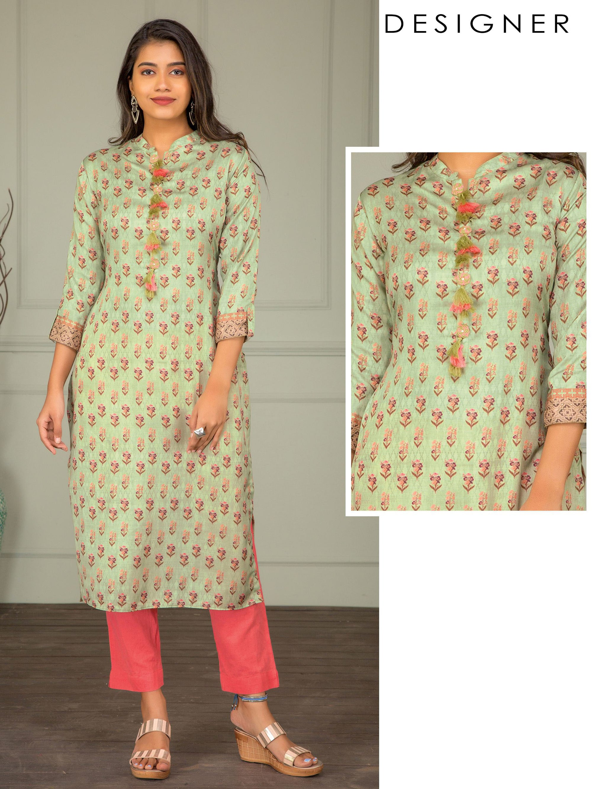 Floral Printed & Tassel Enhanced Kurti – Fern Green