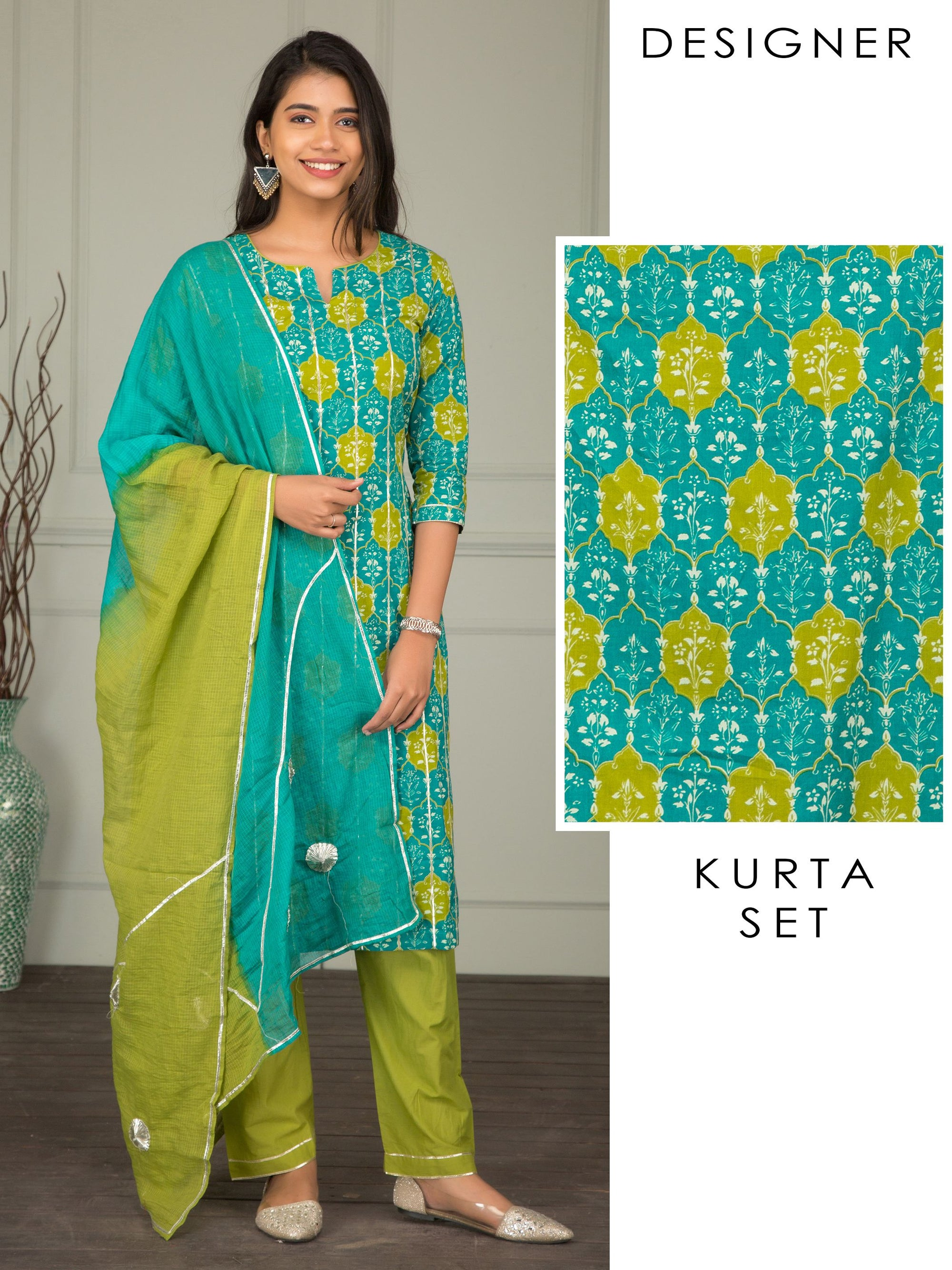 Floral Printed Kurti, Solid Pant & Gota worked Dupatta Set – Teal Blue