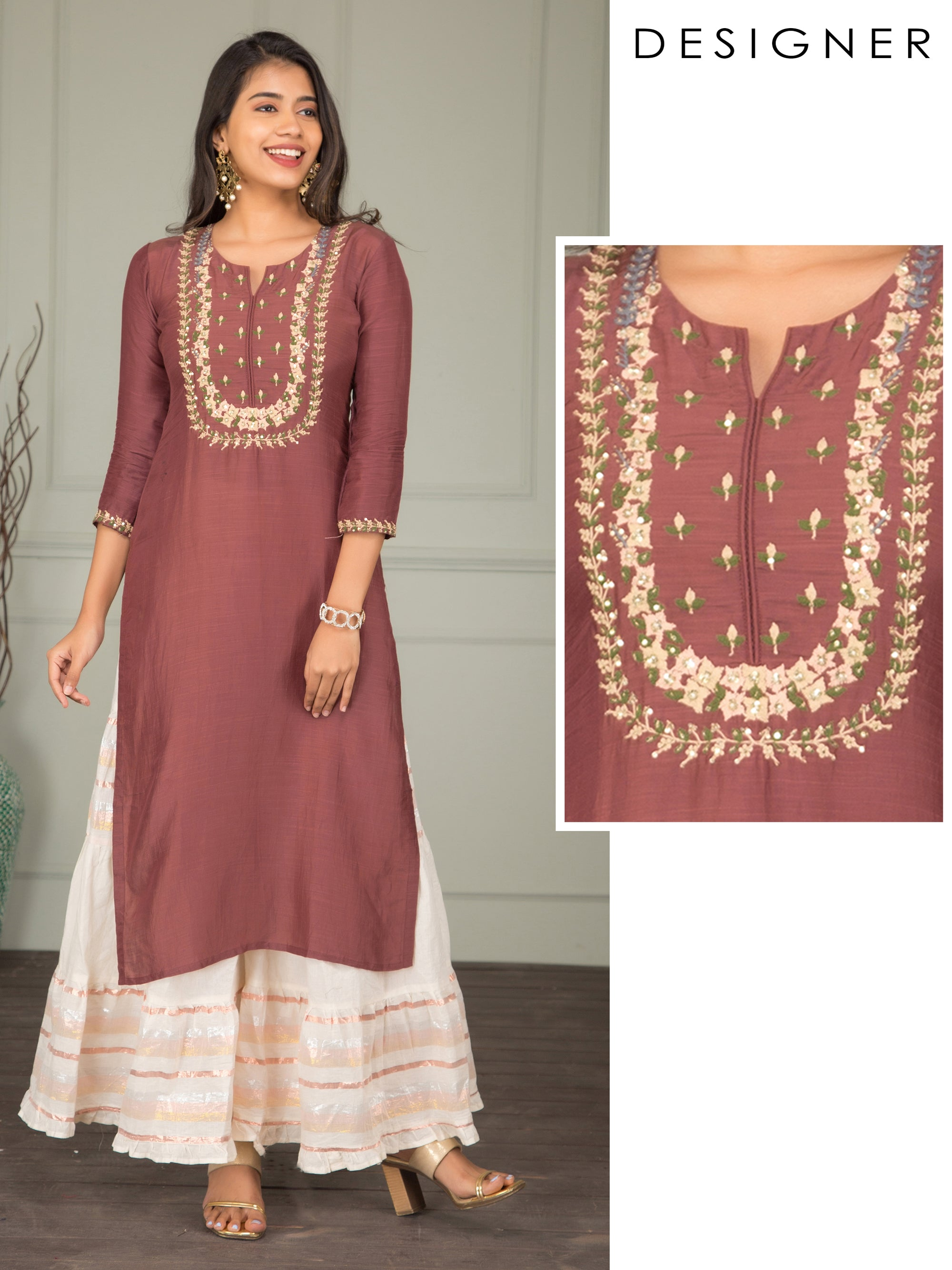 Cord Floral Embroidered Silk Kurti – Brown