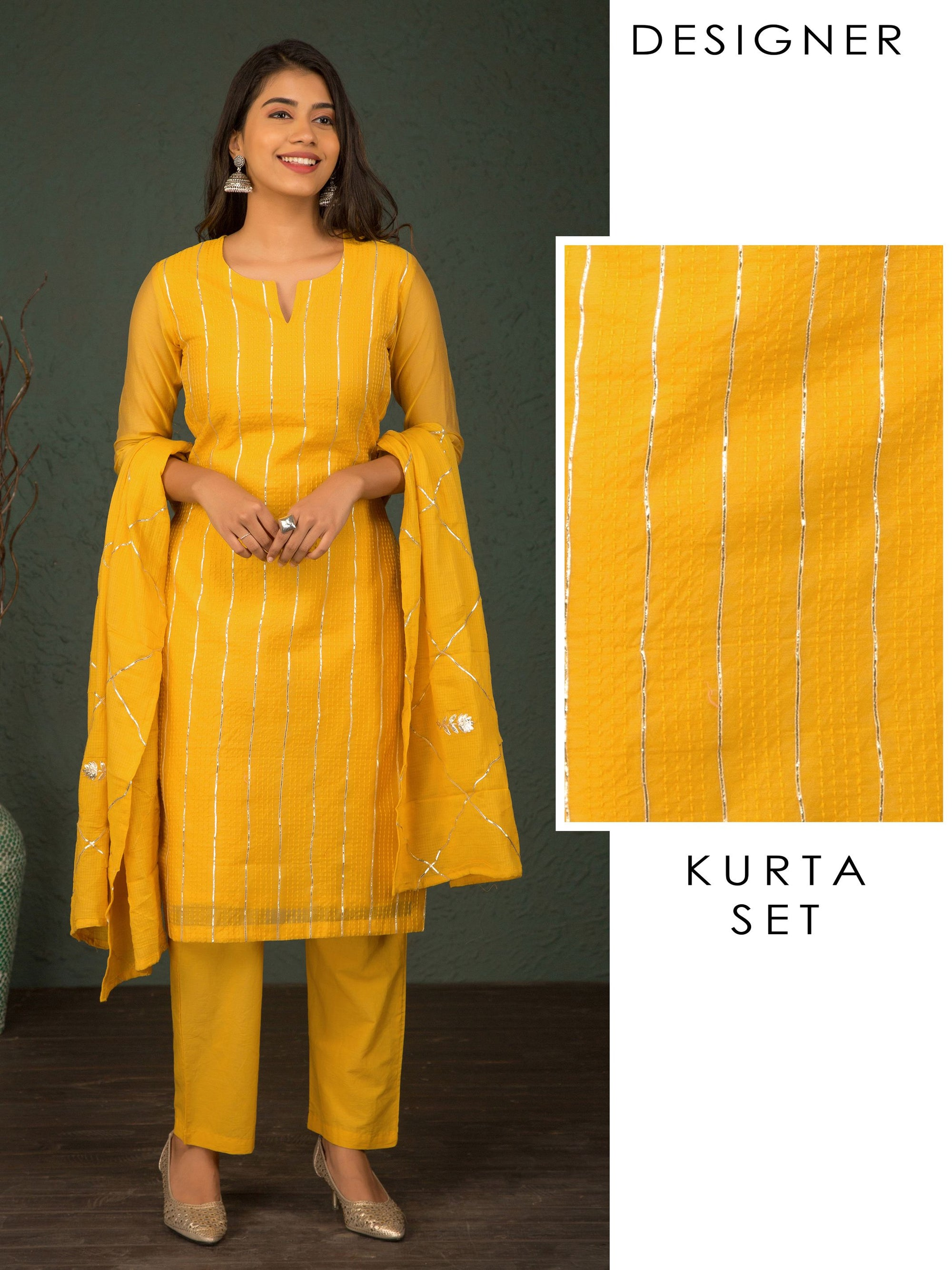 Running Stitch Design With Gota Lace Kurta, Floral Gota Dupatta & Pant - Yellow