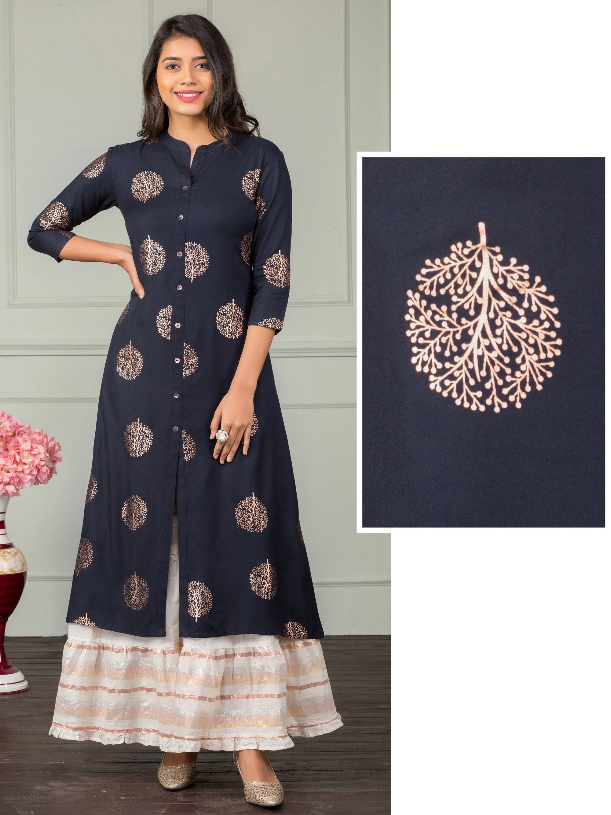 Rose Gold Khari Printed A-Line Kurti – Navy Blue