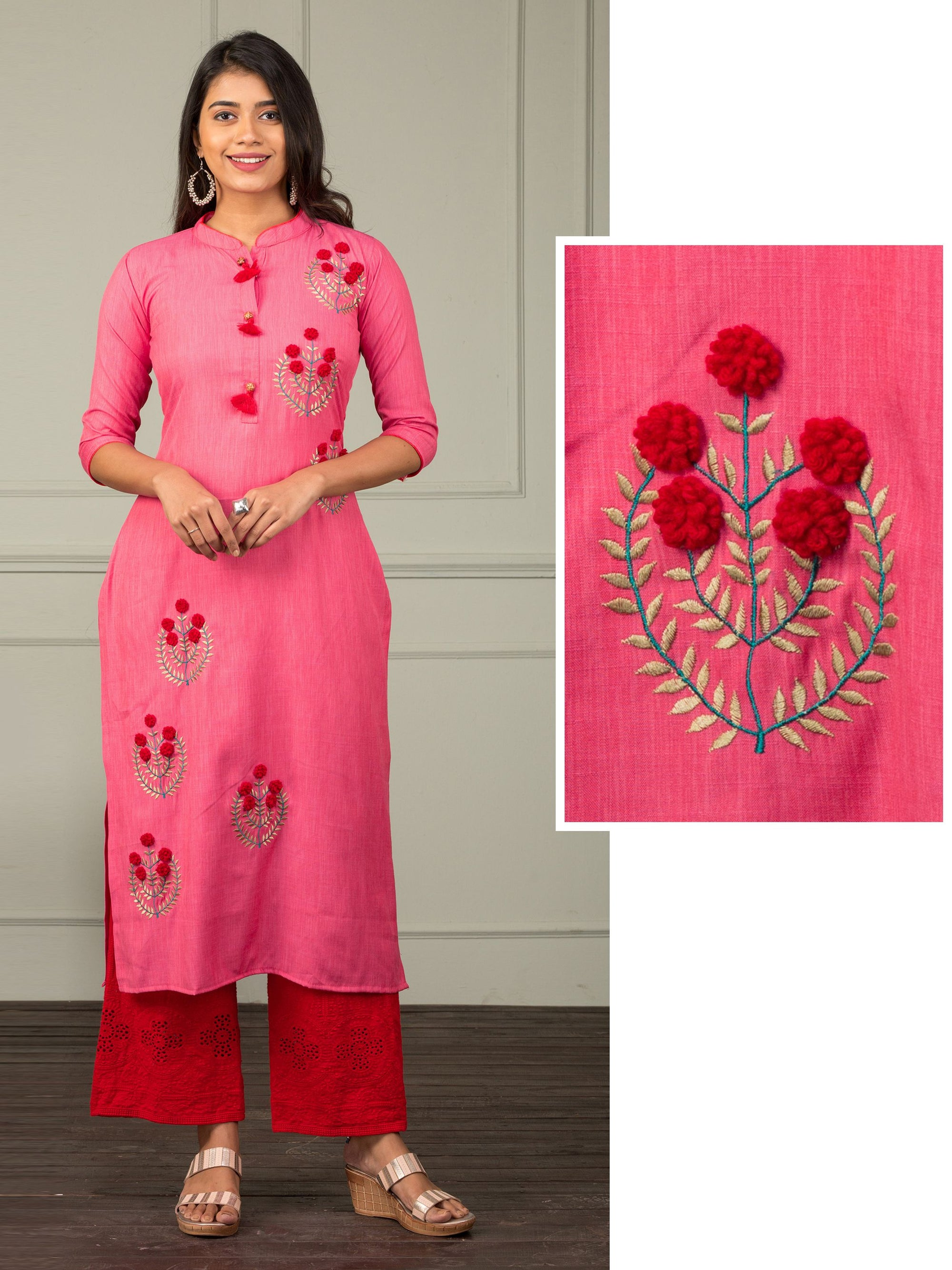 Embossed Floral Embroidered Kurti - Hot Pink