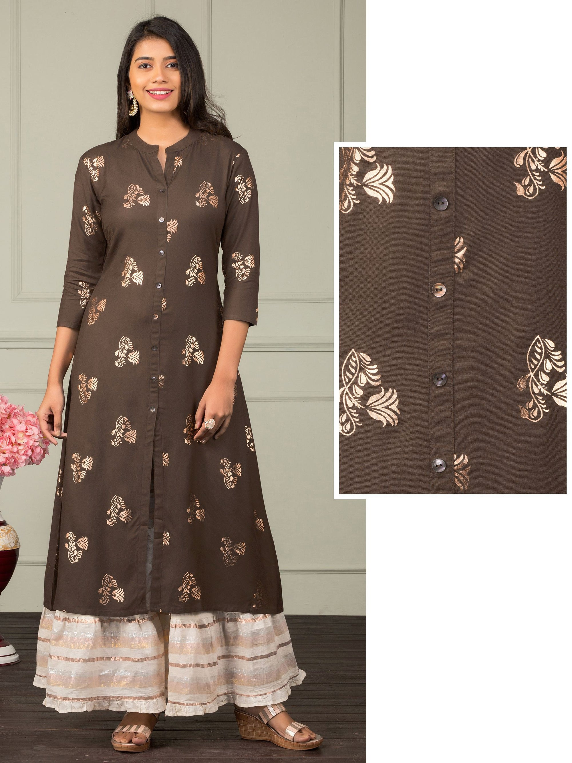 Floral Khari Printed A-Line Kurti – Coffee Bean Brown