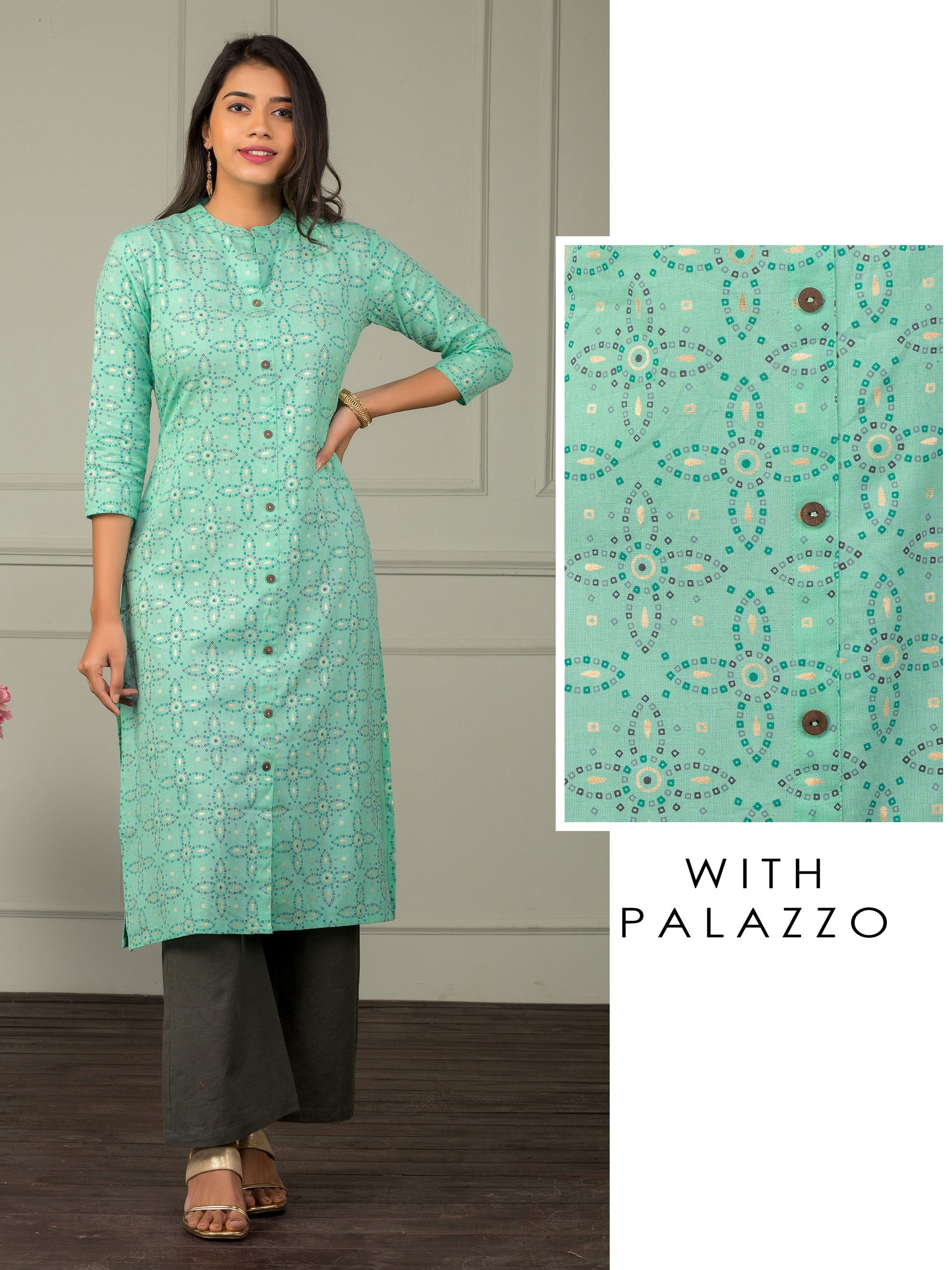 Tiny Checkered Floral Pattern Kurti & Solid Palazzo