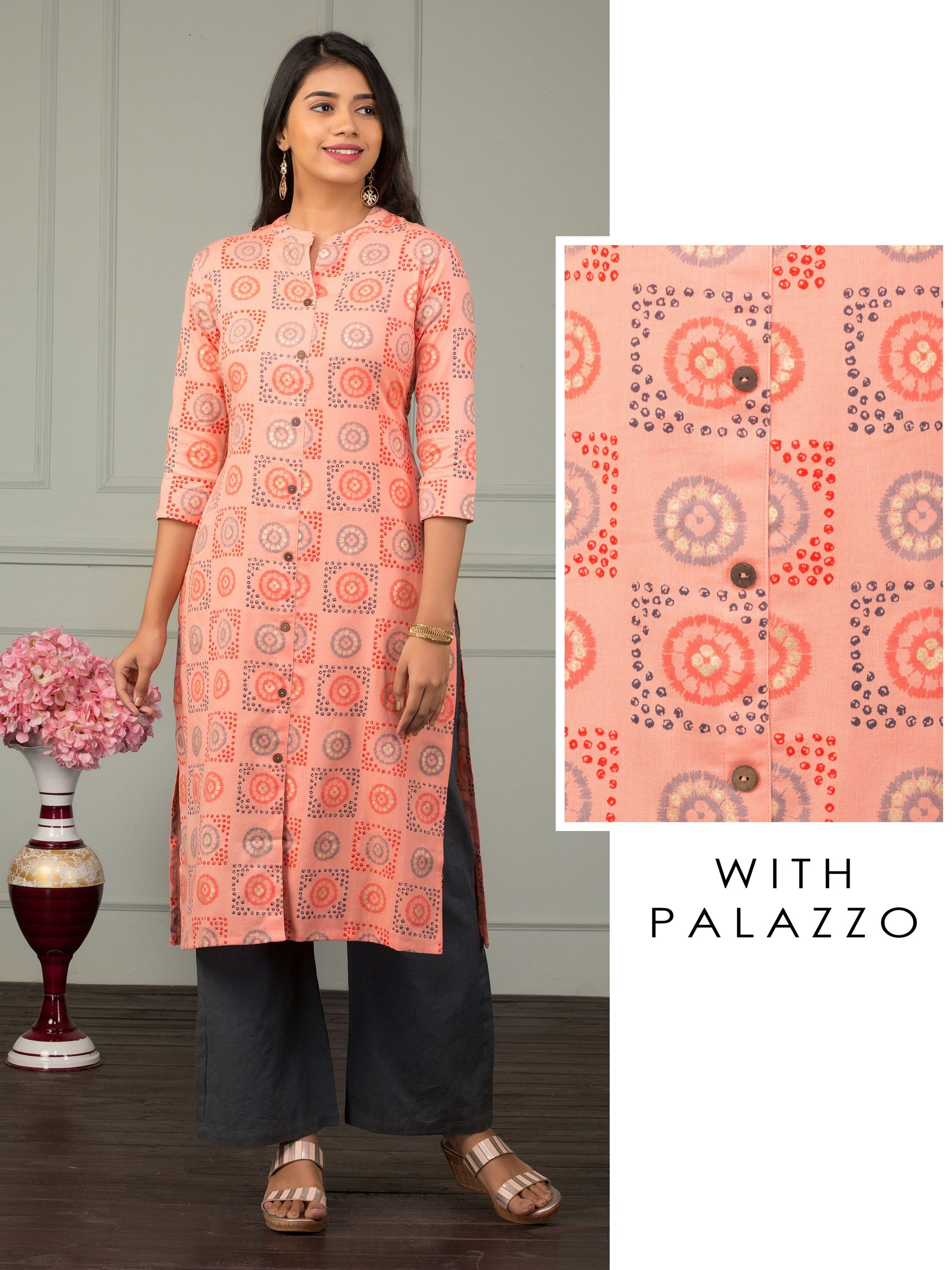 Abstract Floral Printed Kurti & Solid Palazzo Set - Peach