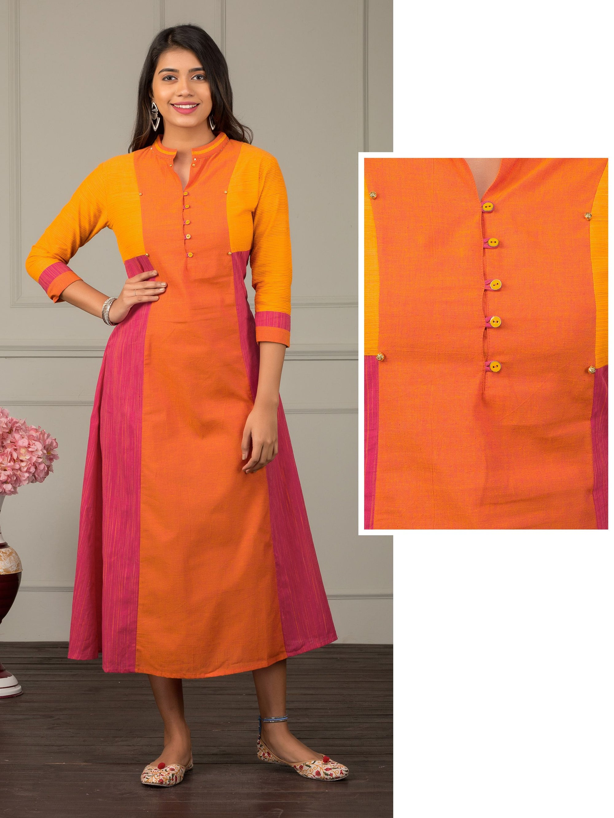 Handloom Textured Colour Block Kurta