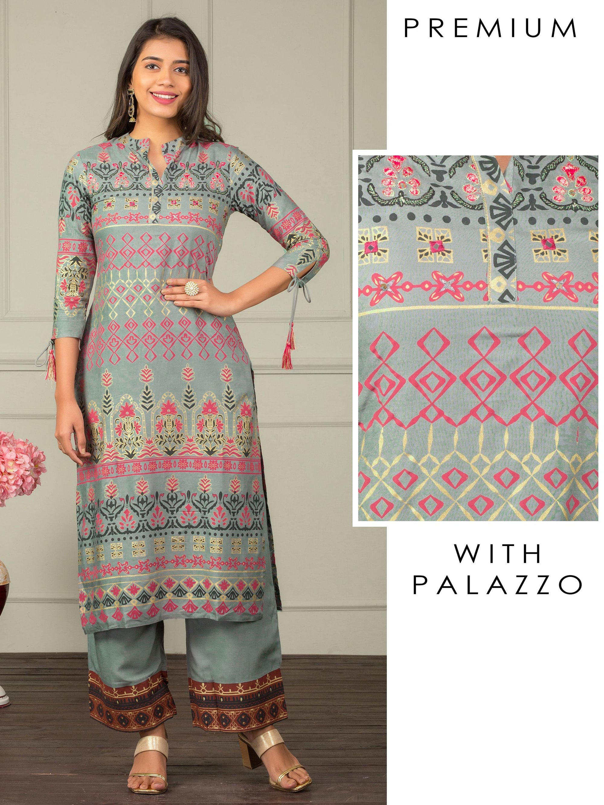Mixed Floral Printed Kurti with Palazzo