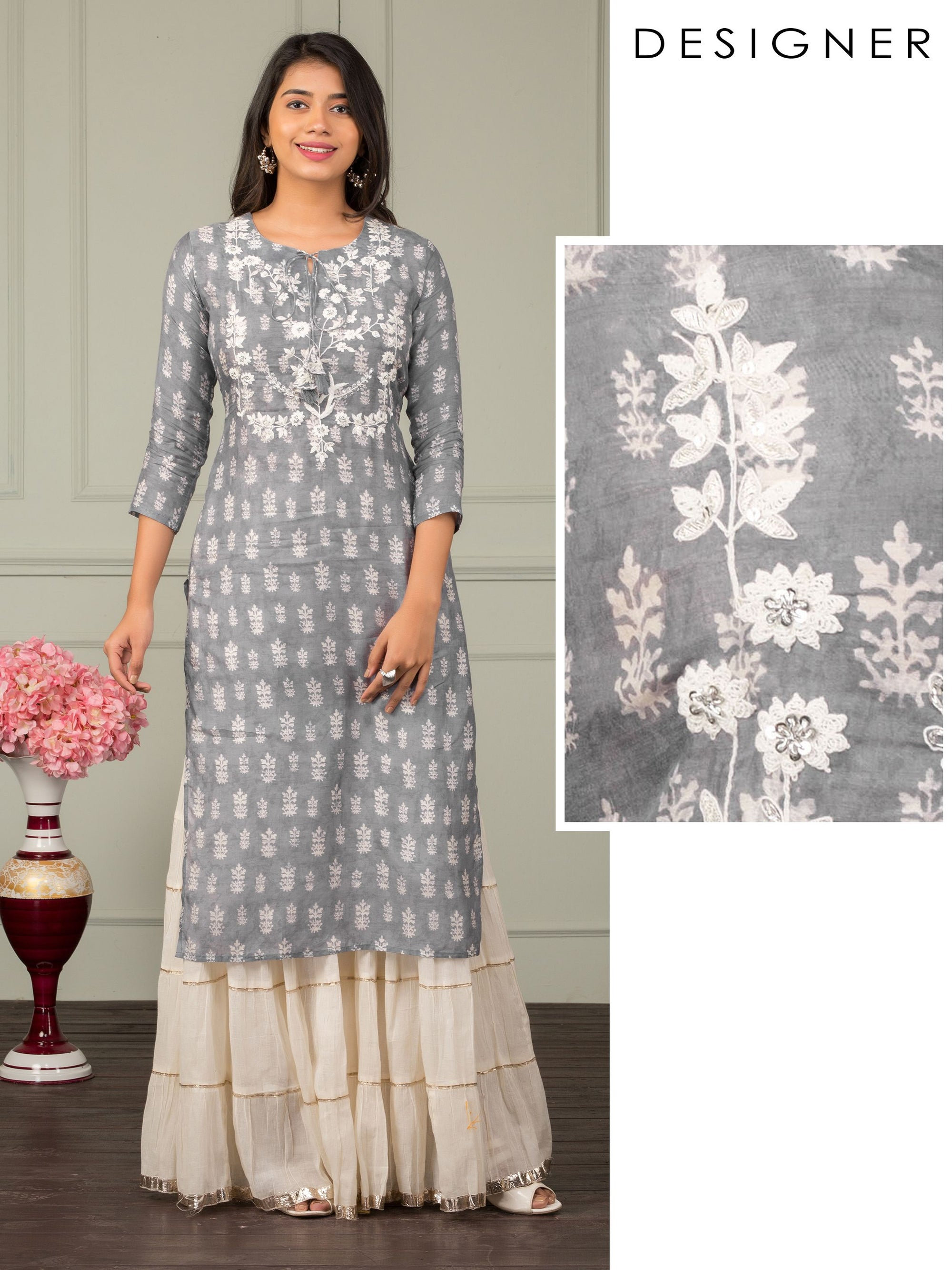 Premium Floral Printed & Cord Embroidered Designer Kurti - Smokey Grey