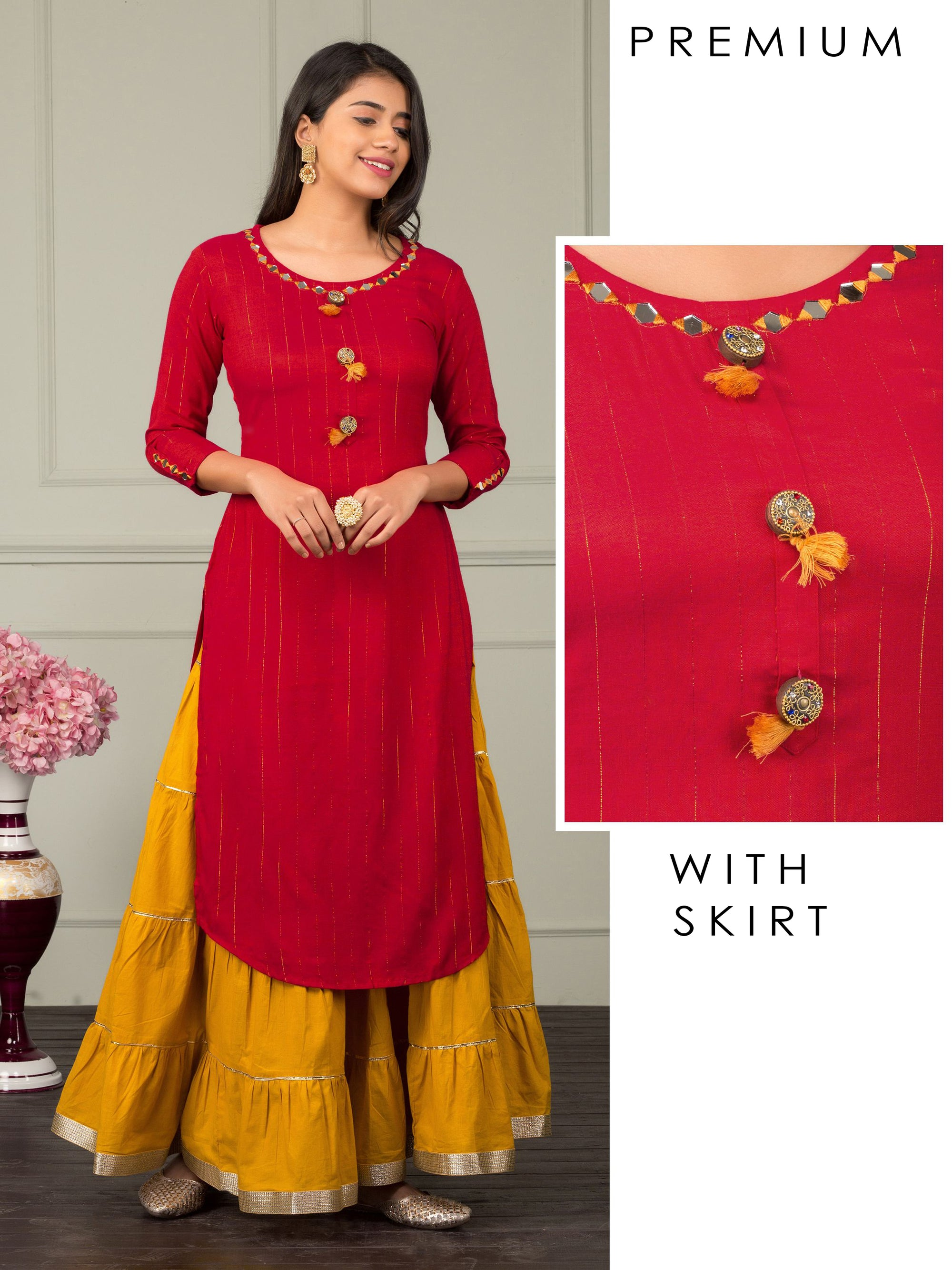 Mirror Worked Kurti & Gota Sharara Set – Ruby Red
