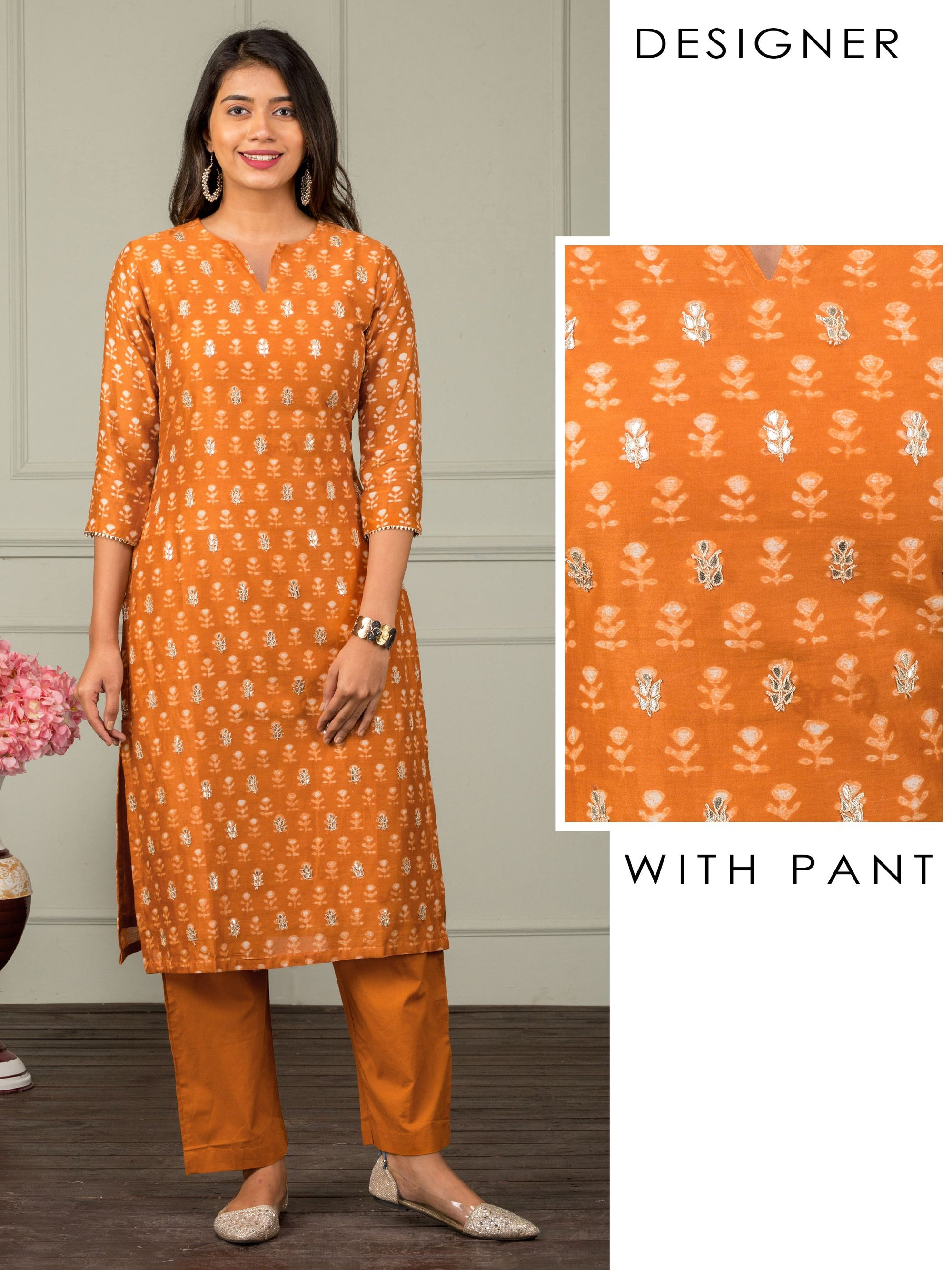 Monotone Hand Block Floral Printed Gota Kurti & Pant Set - Rust Orange