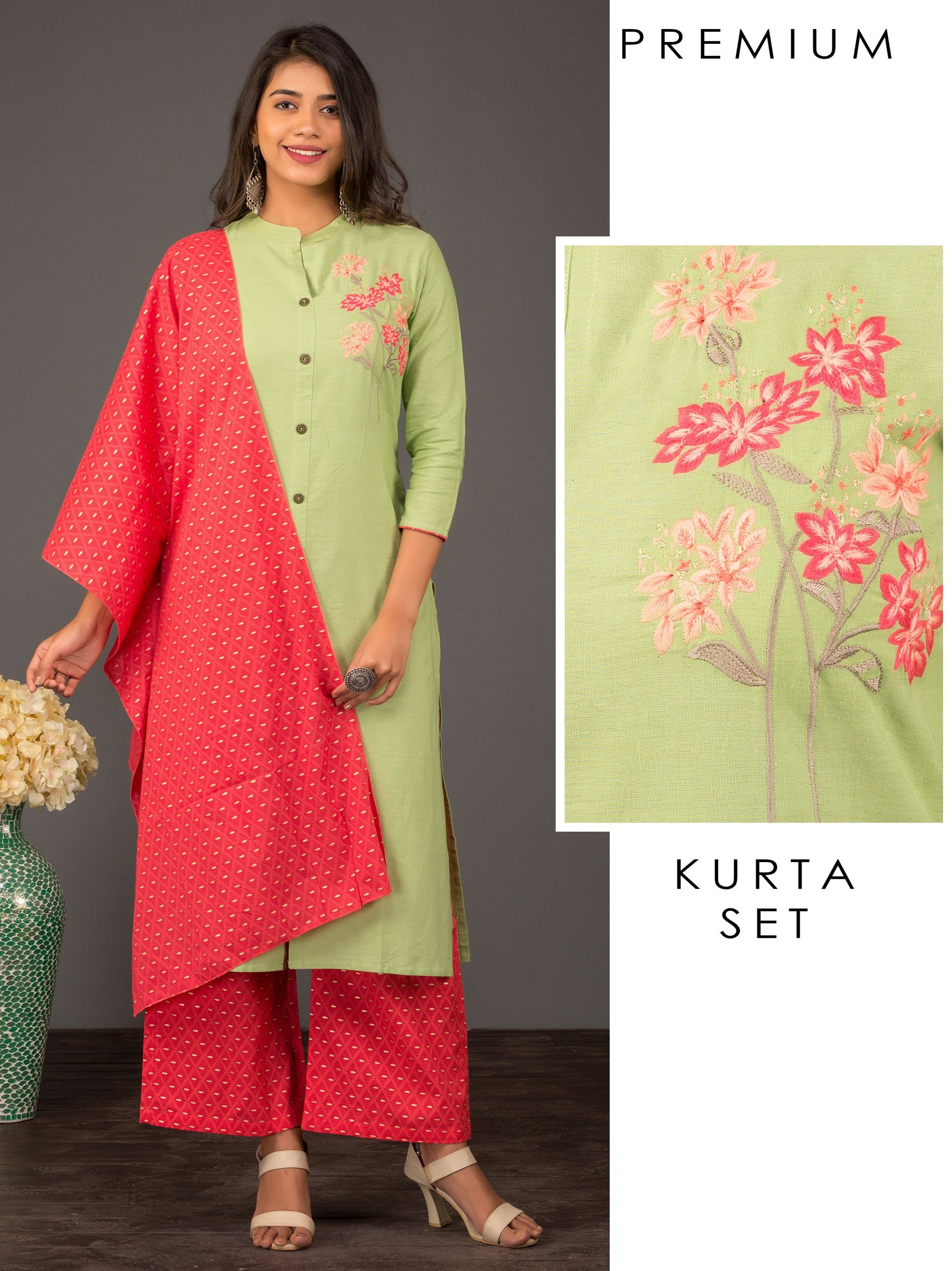 Floral Embroidered Kurti, Diamond printed Palazzo & Dupatta