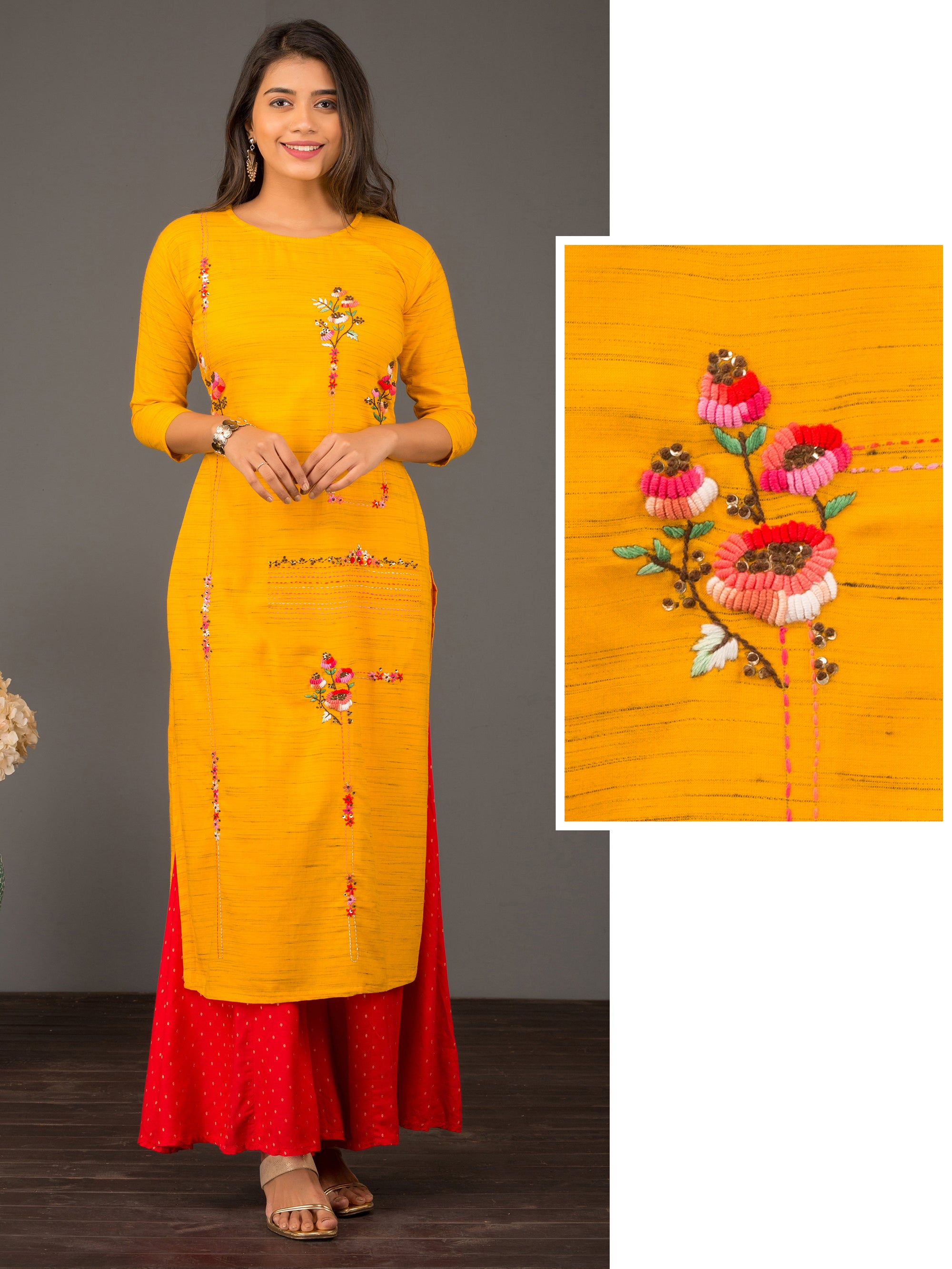 Two Toned Shade With Bullion Knots Embroidered Kurta