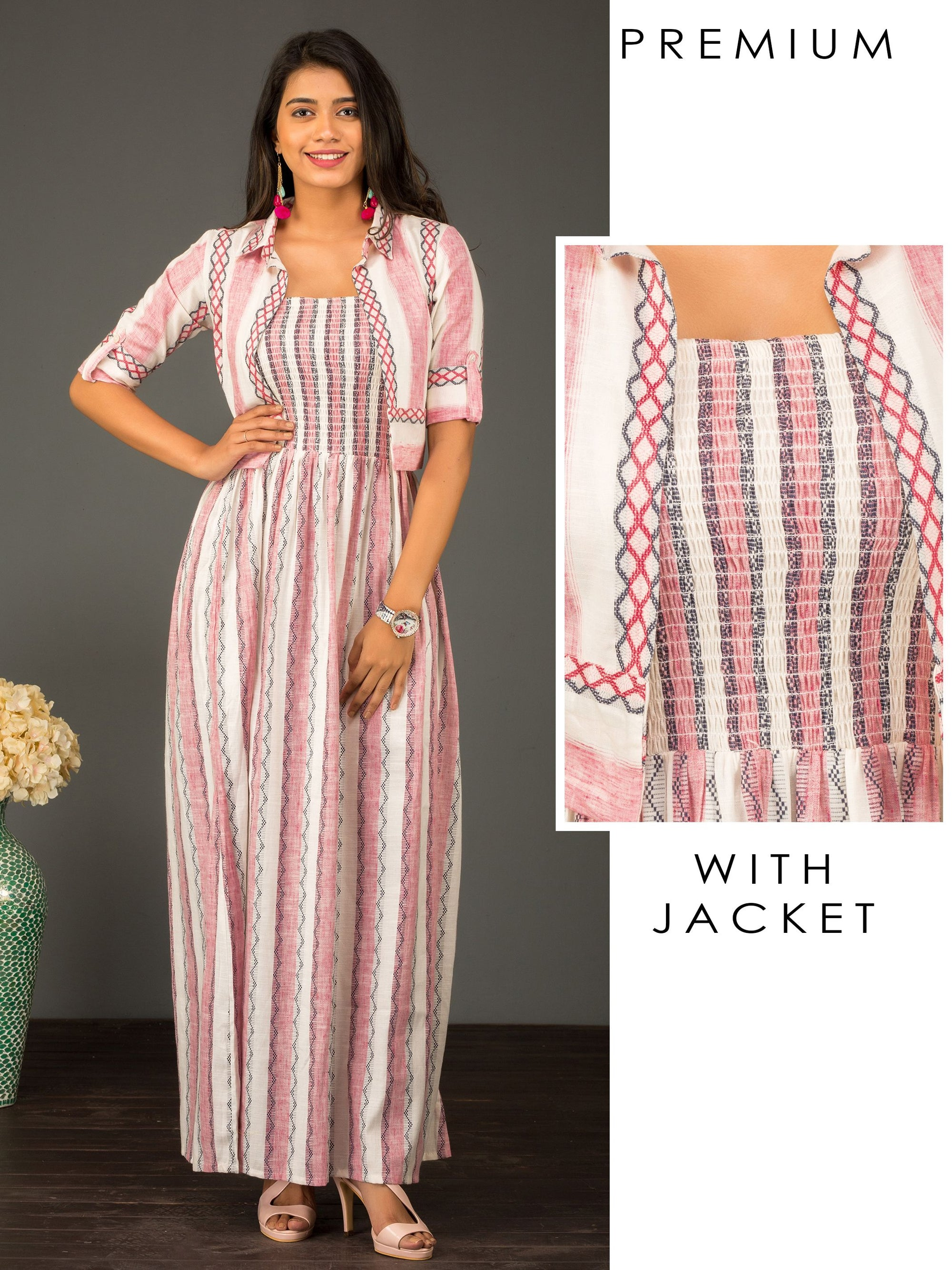 Chevron Printed Jacket with Cabana Striped Smocking Maxi – Taffy Pink