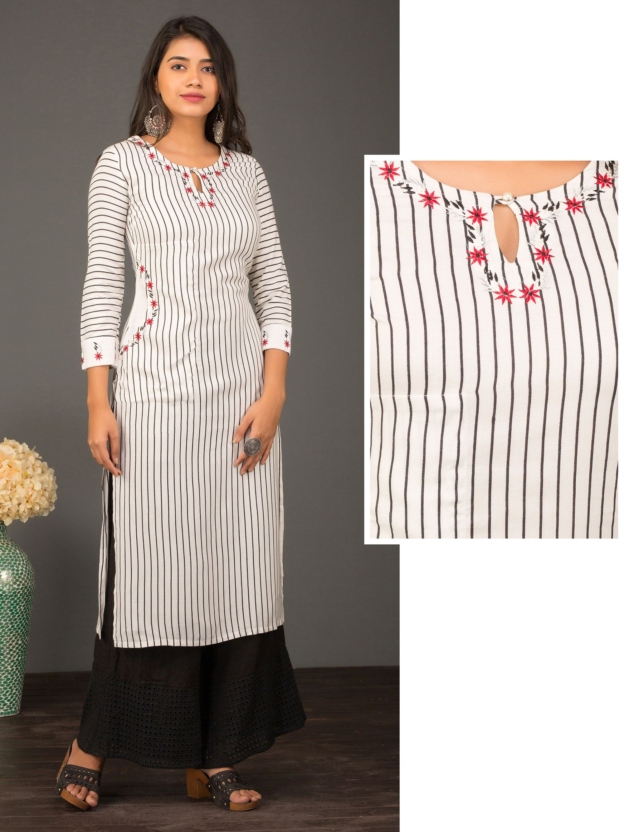 Bengal Striped & Minimal Floral Embroidered Kurti