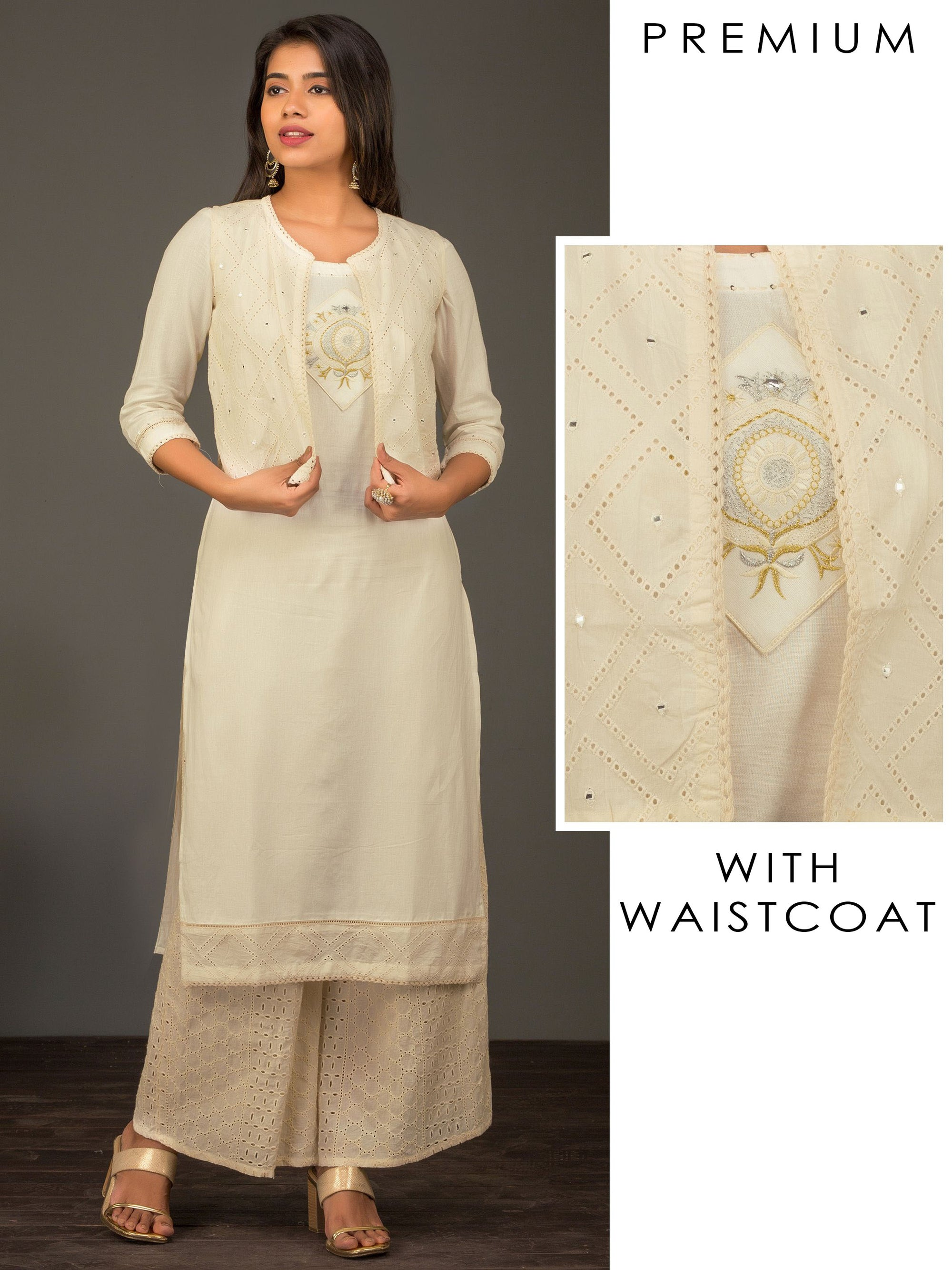 Premium Cotton Zari Embroidered Kurta With Schiffli And Mirrorwork Waistcoat