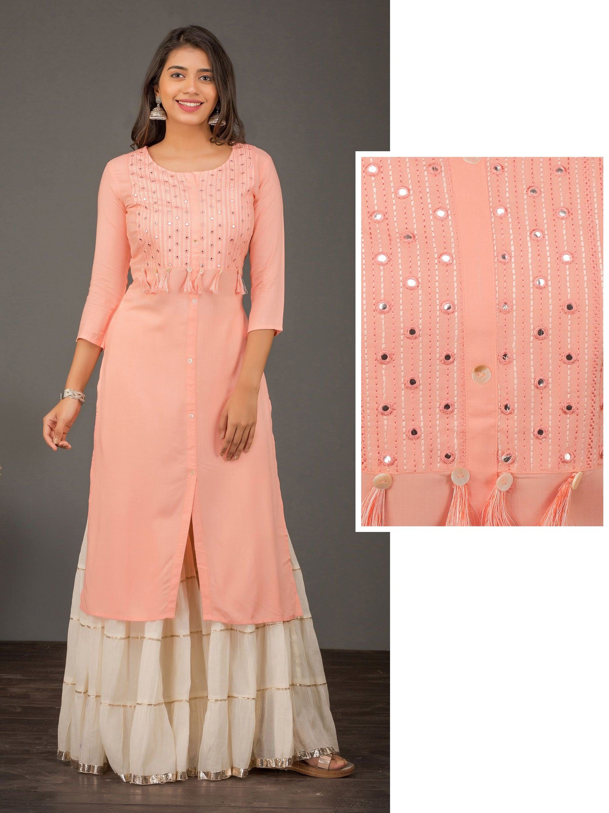 Mirror Work With Tassels Kurta  - Peach