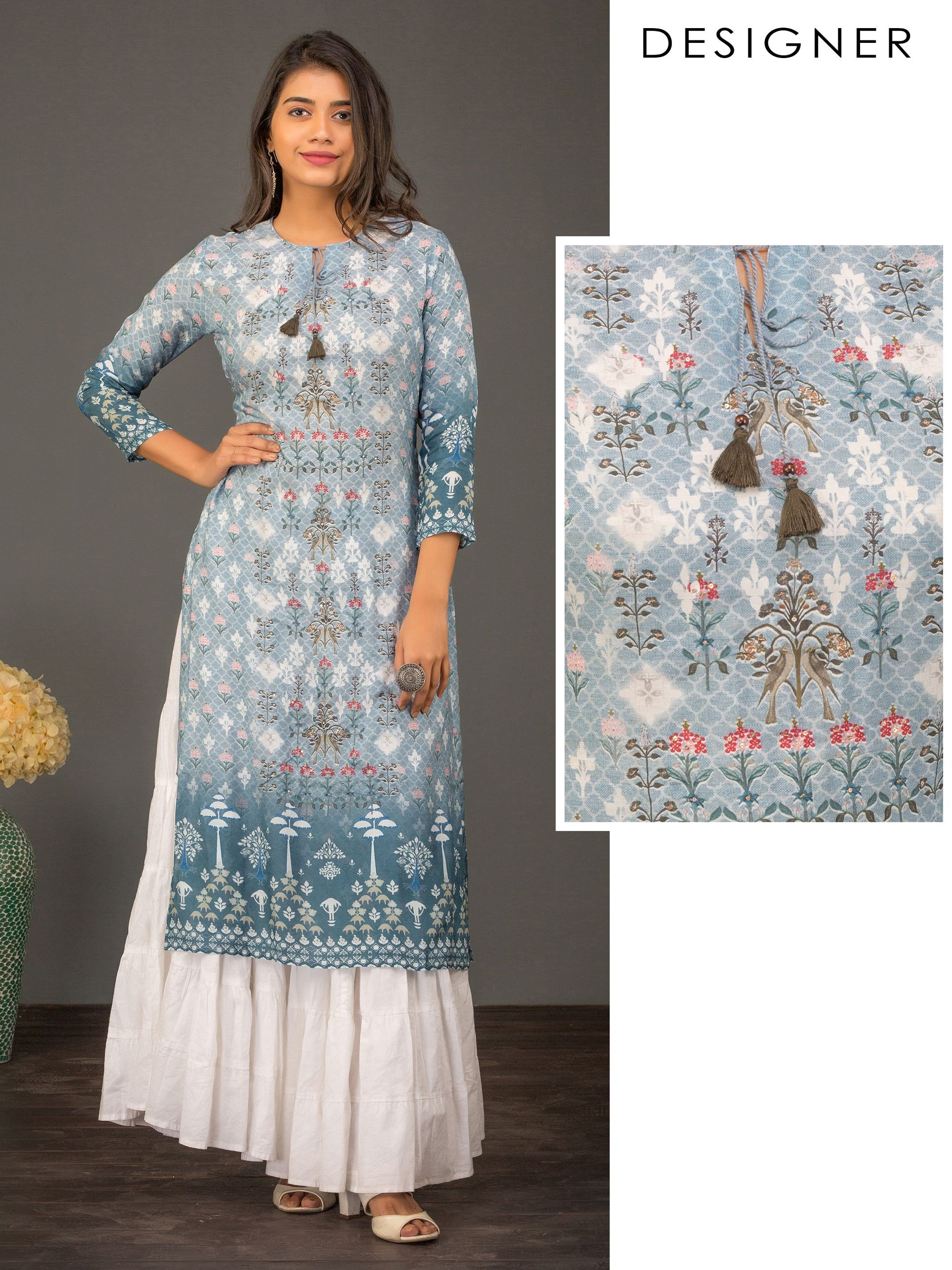 Quatrefoil & Floral Printed Sequins Kurti – Powder Blue