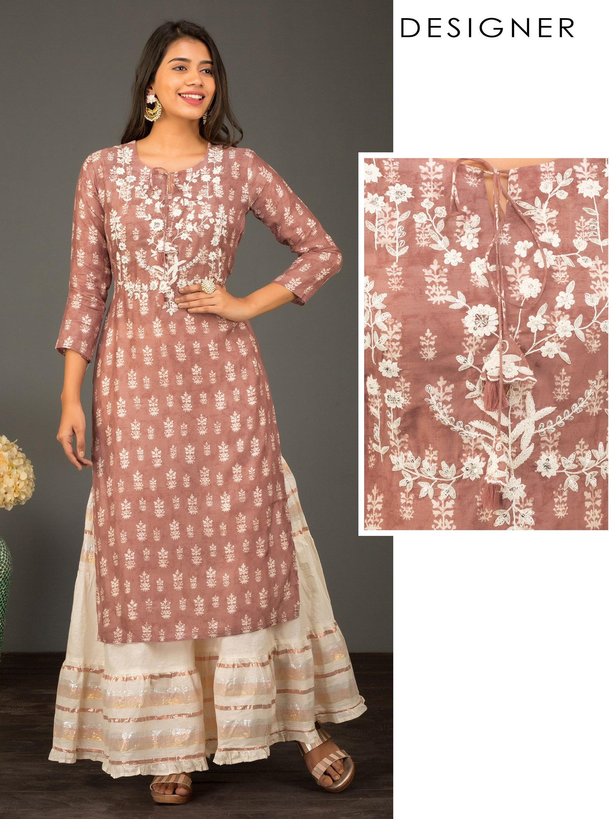 Floral Printed & Cord Embroidered Designer Kurti – Rusty Brown
