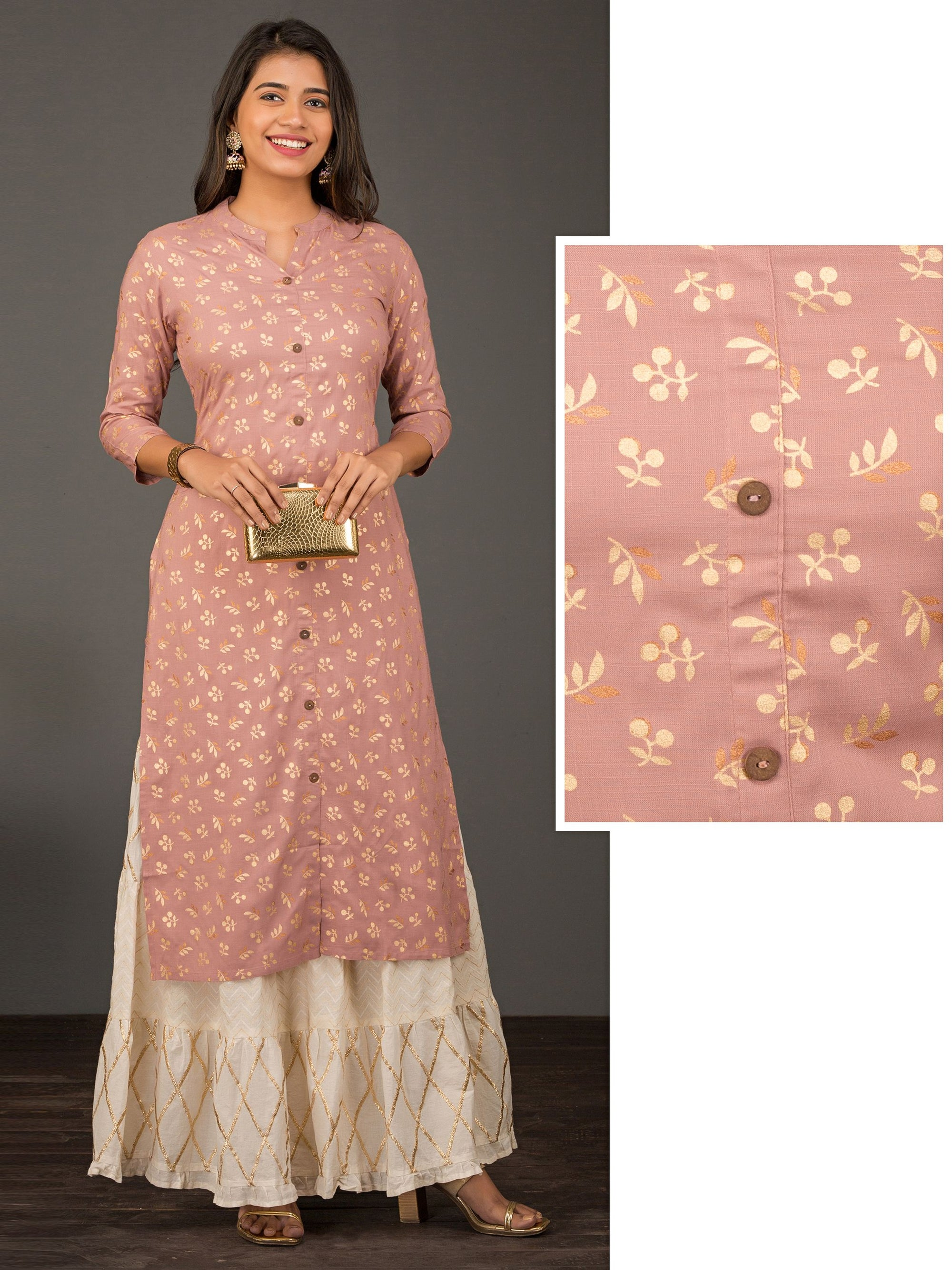 Pretty Khari Gold Leaf Printed Kurta - Dusty Pink