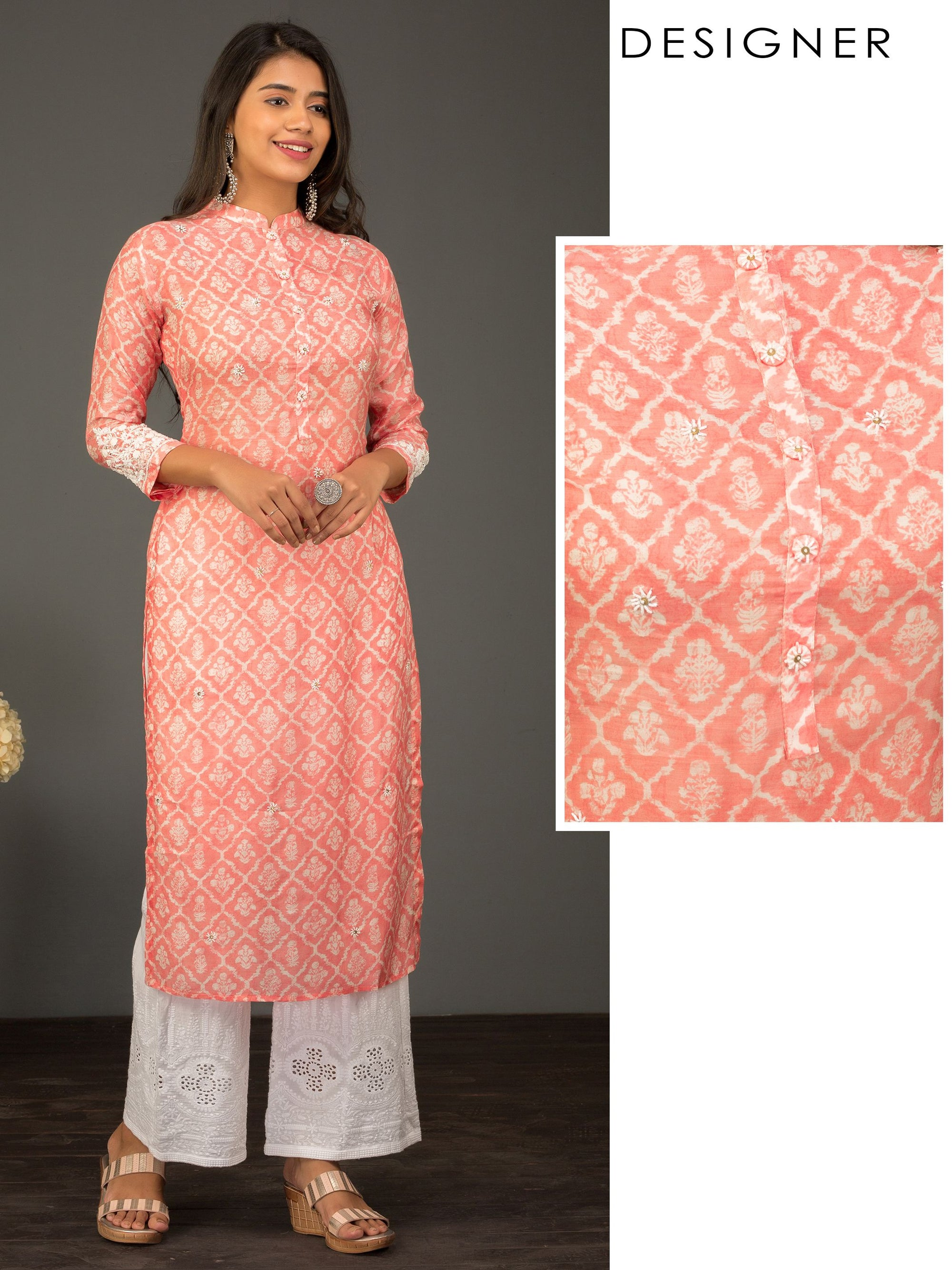 Premium Floral Printed Kurta With Cutdana And French Knot Embroidery - Cotton Candy
