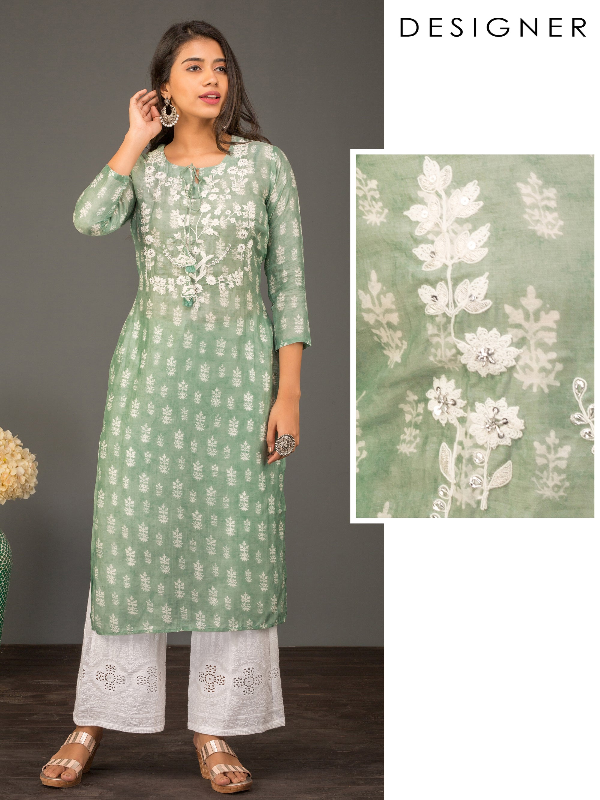 Floral Printed & Cord Embroidered Designer Kurti – Submarine Green