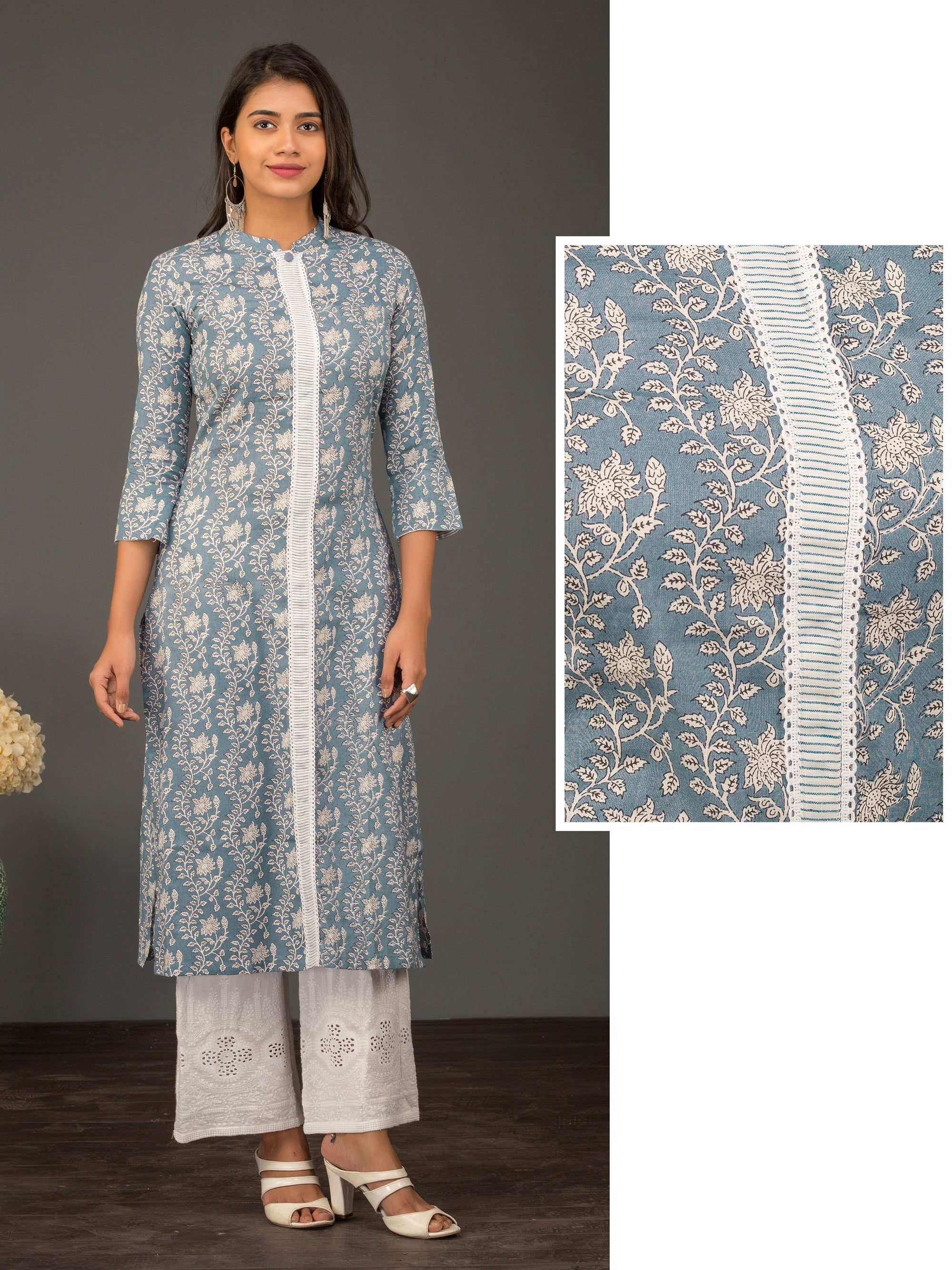 Floral Printed & Contrast Placket Kurti