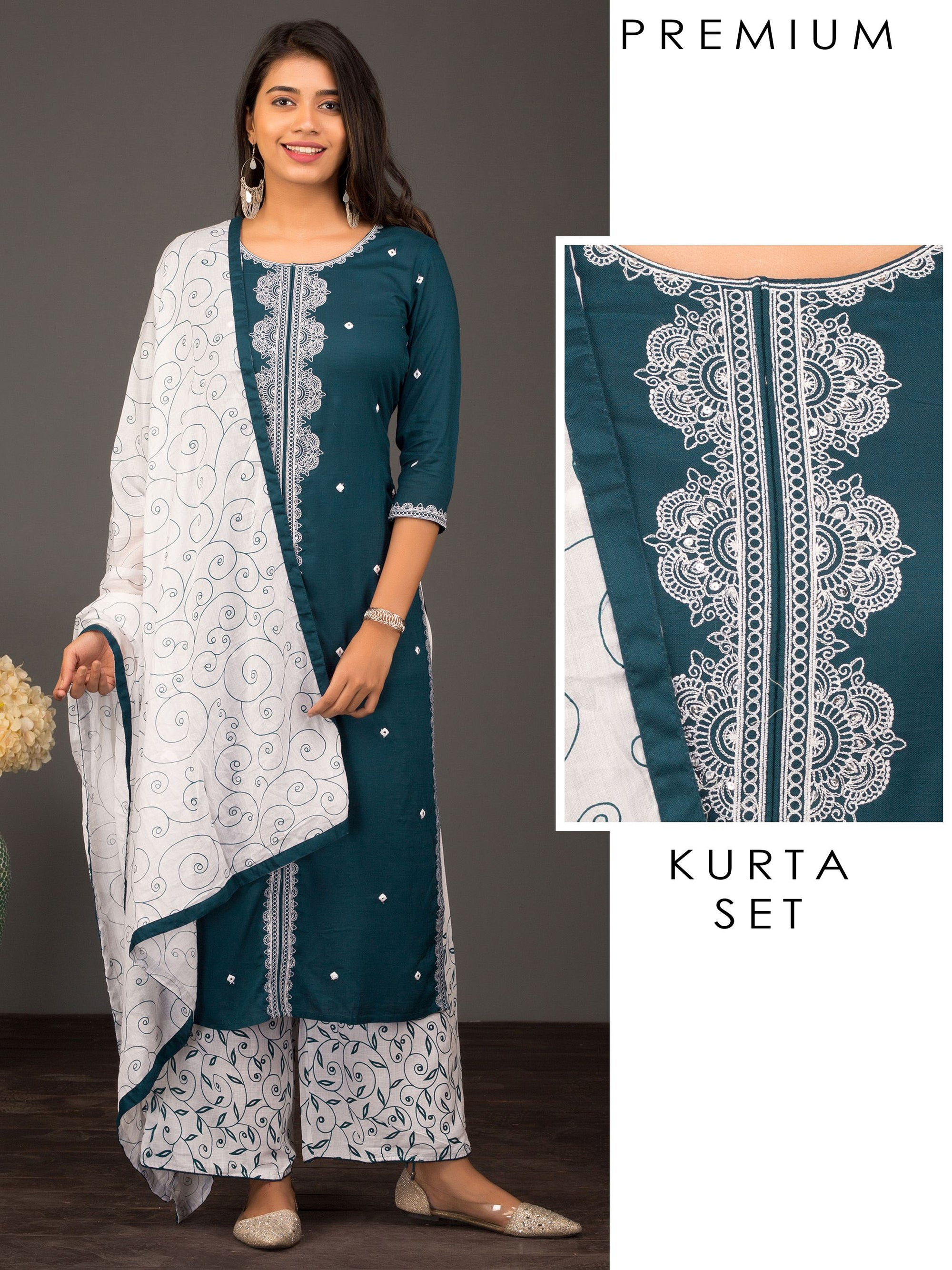 Mandala Embroidery With Mirror Work Kurta With Printed Palazzo And Dupatta