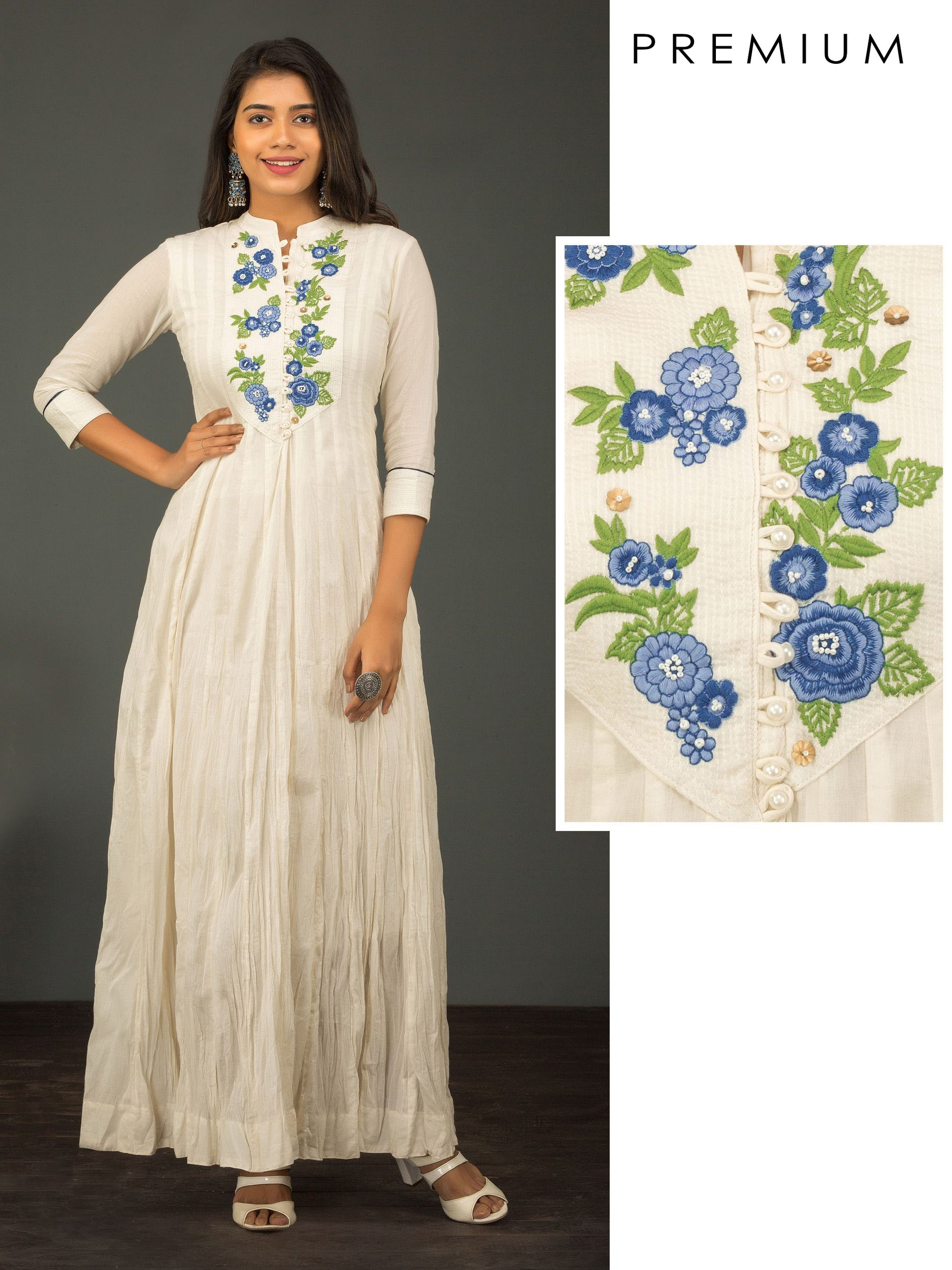 Pretty Satin Stitch Floral Embroidery On Crushed Cotton Kurti