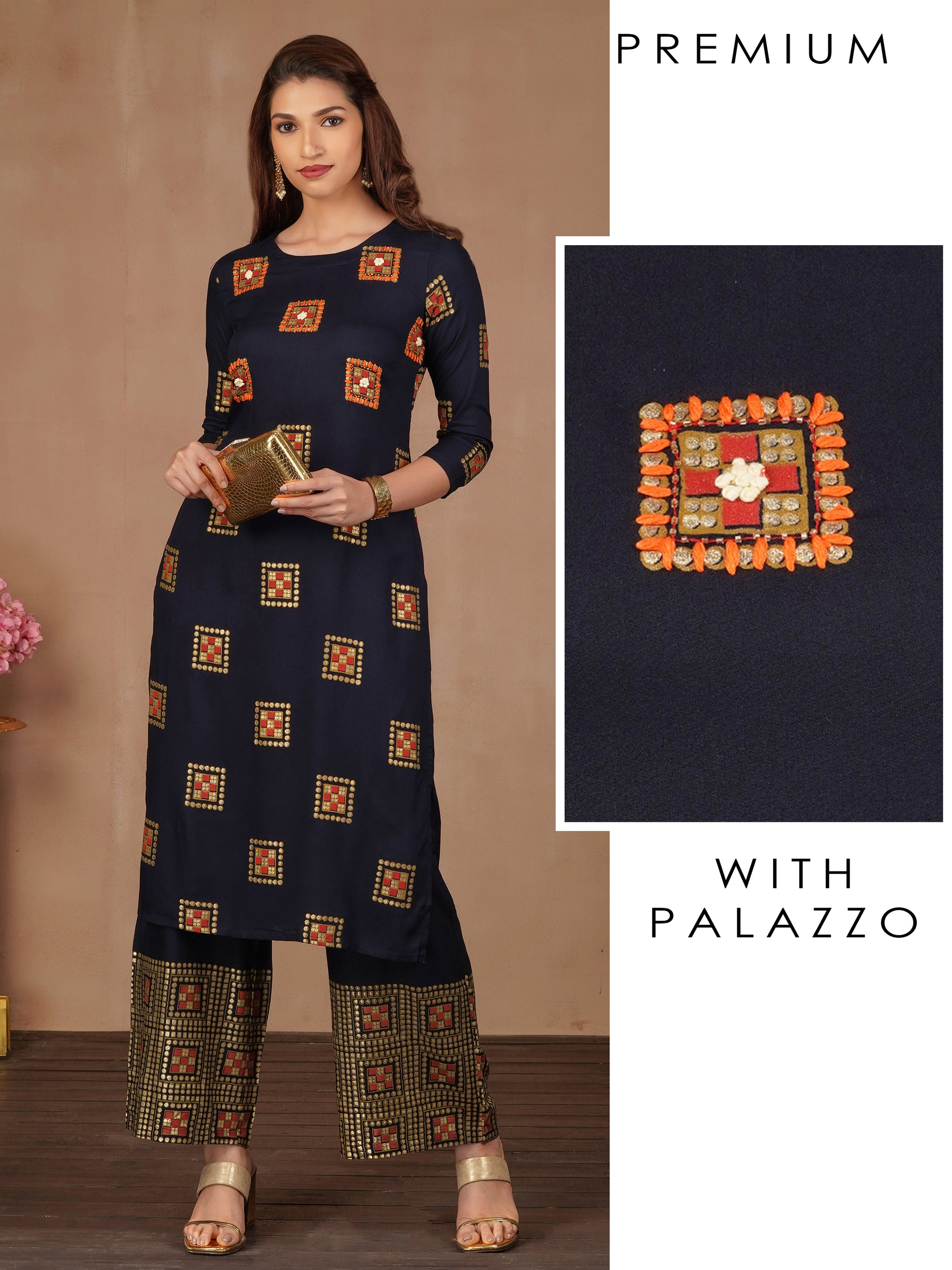 Luxe Gold Foil Highlighted Geometric Printed Kurta And Palazzo Set
