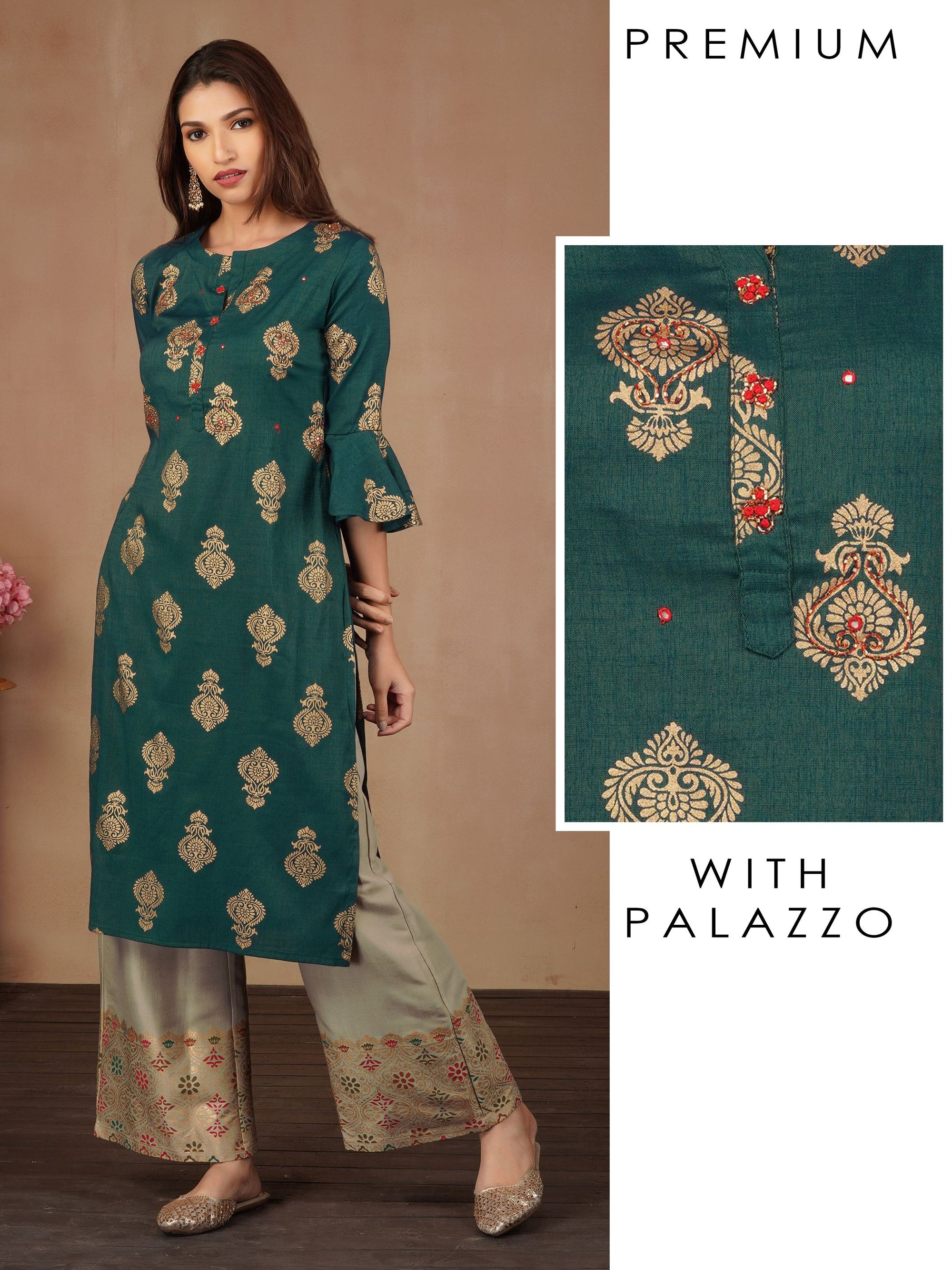 Khari Gold Print With Cutdana And Mirrorwork Kurta And Khari Printed Palazzo Set