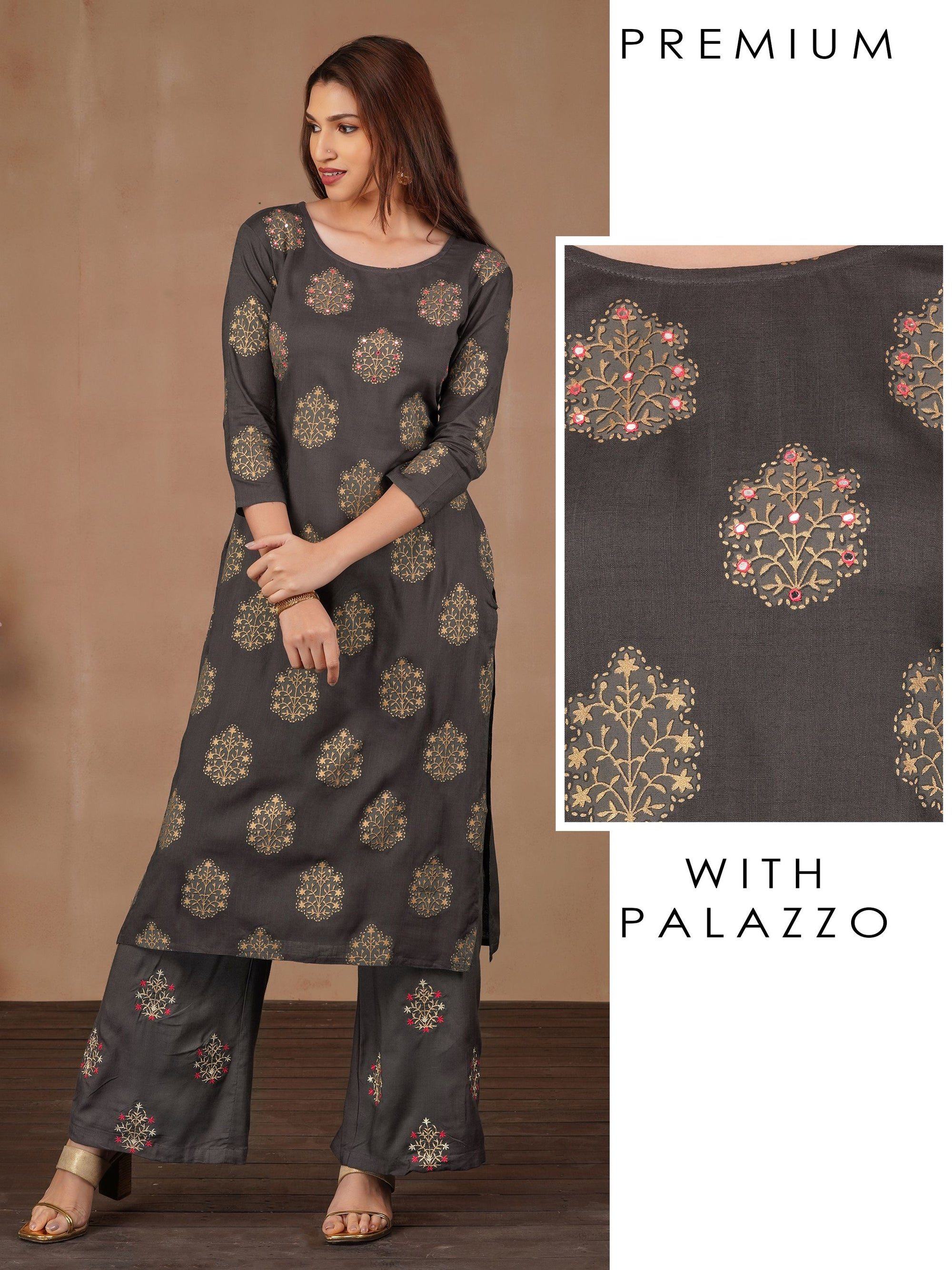 Gold Floral Print With Mirror Work Kurta And Zari Embroidered Palazzo